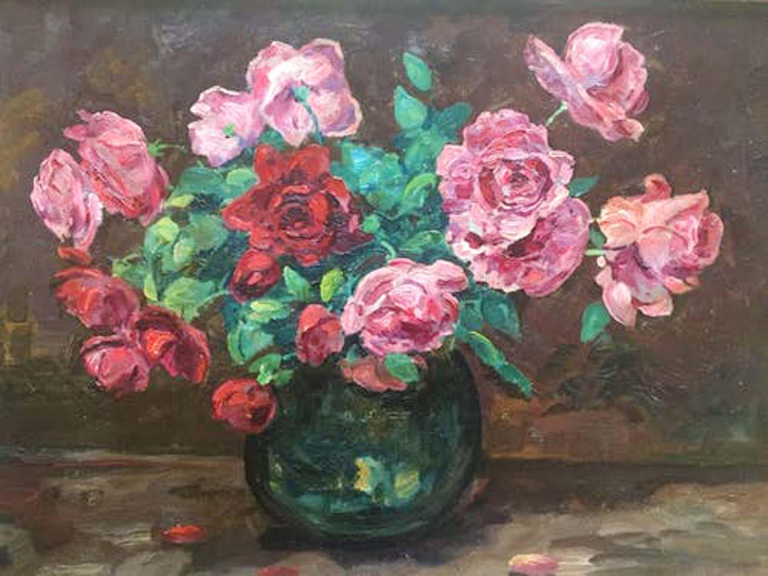 Jacobus Doeser - stilleven met rozen kopen? Bied vanaf 225!