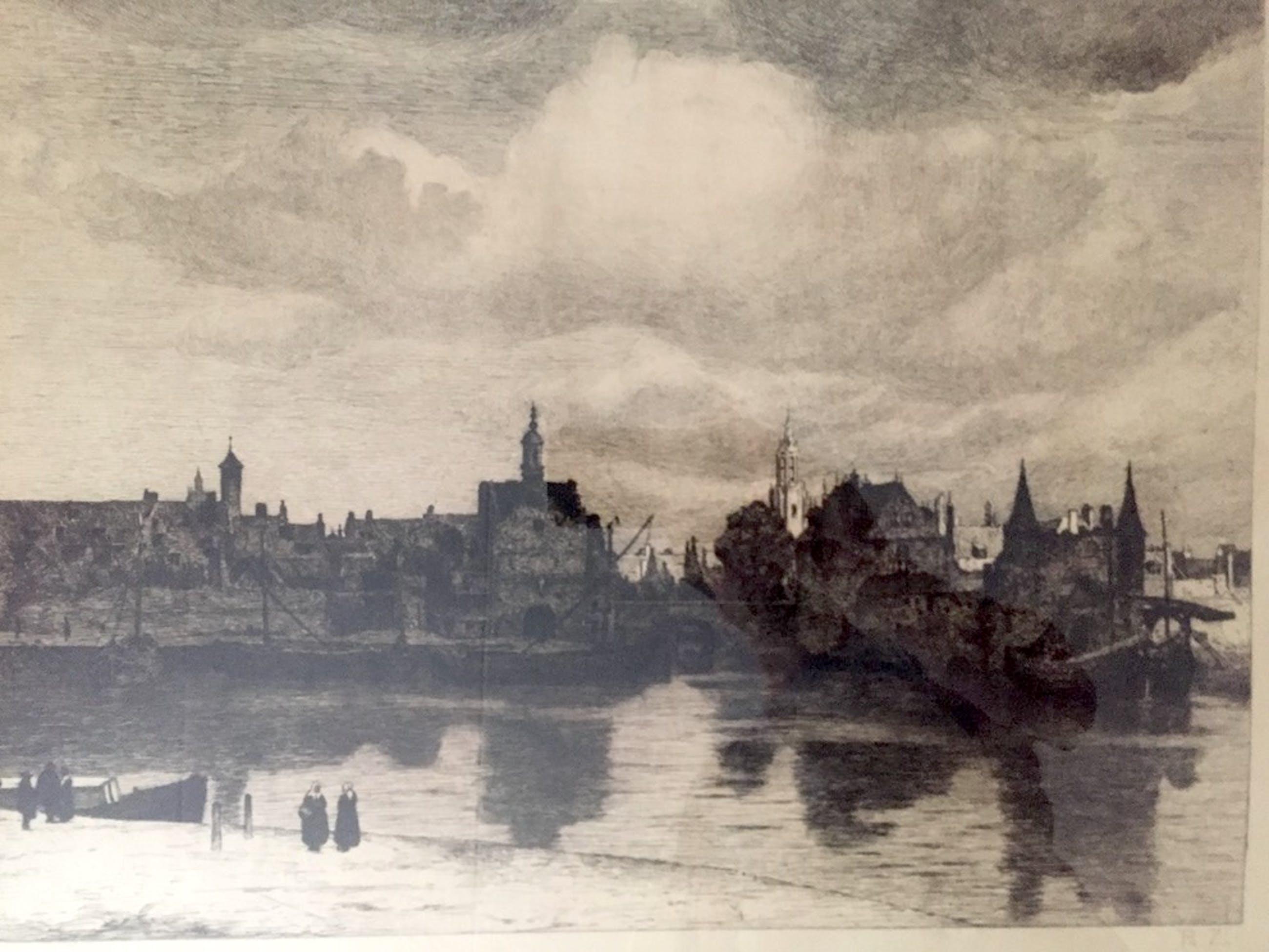 Philip Zilcken - 'Gezicht op Delft' - Ets, Ingelijst kopen? Bied vanaf 60!