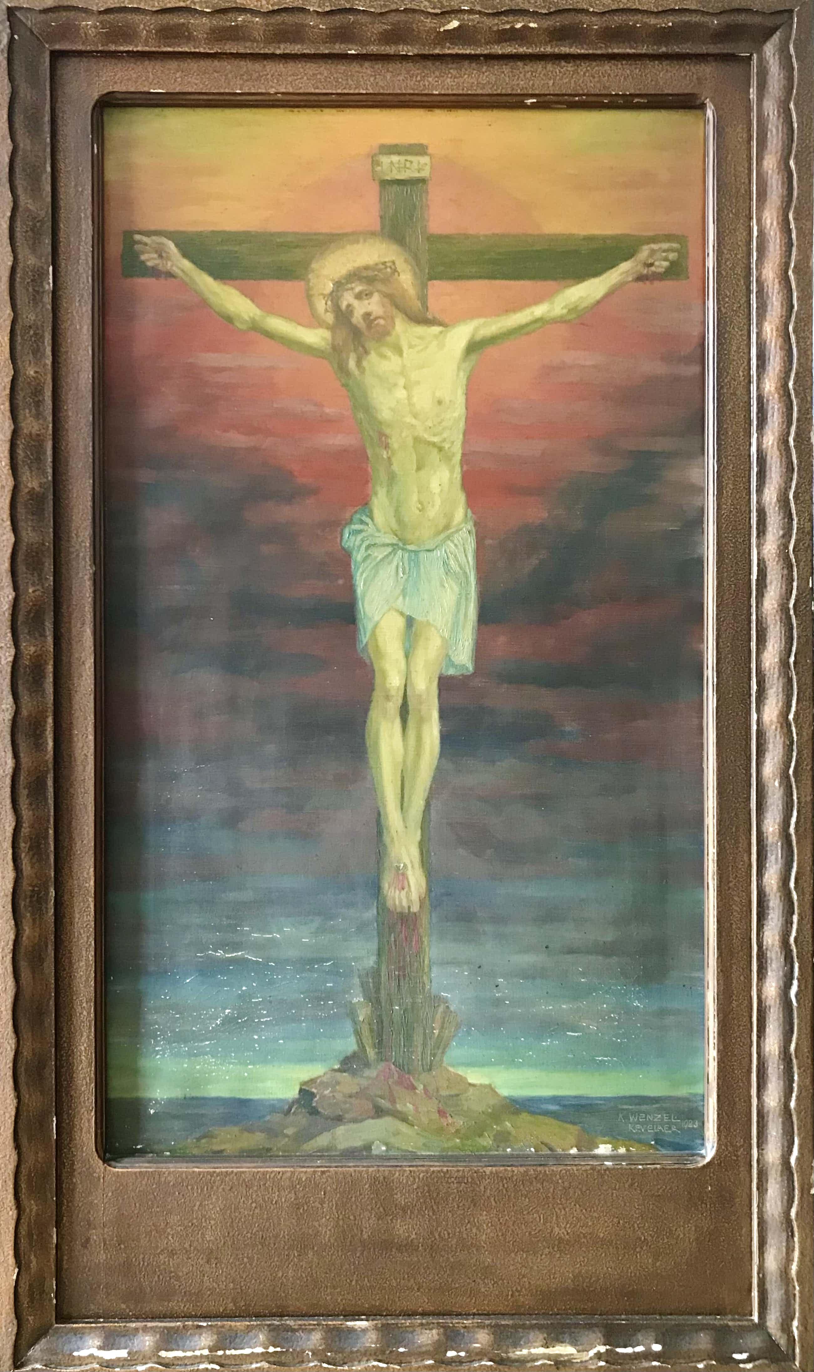 Karl Wenzel - Christusfigur am Kreuz, Öl auf Leinwand kopen? Bied vanaf 250!