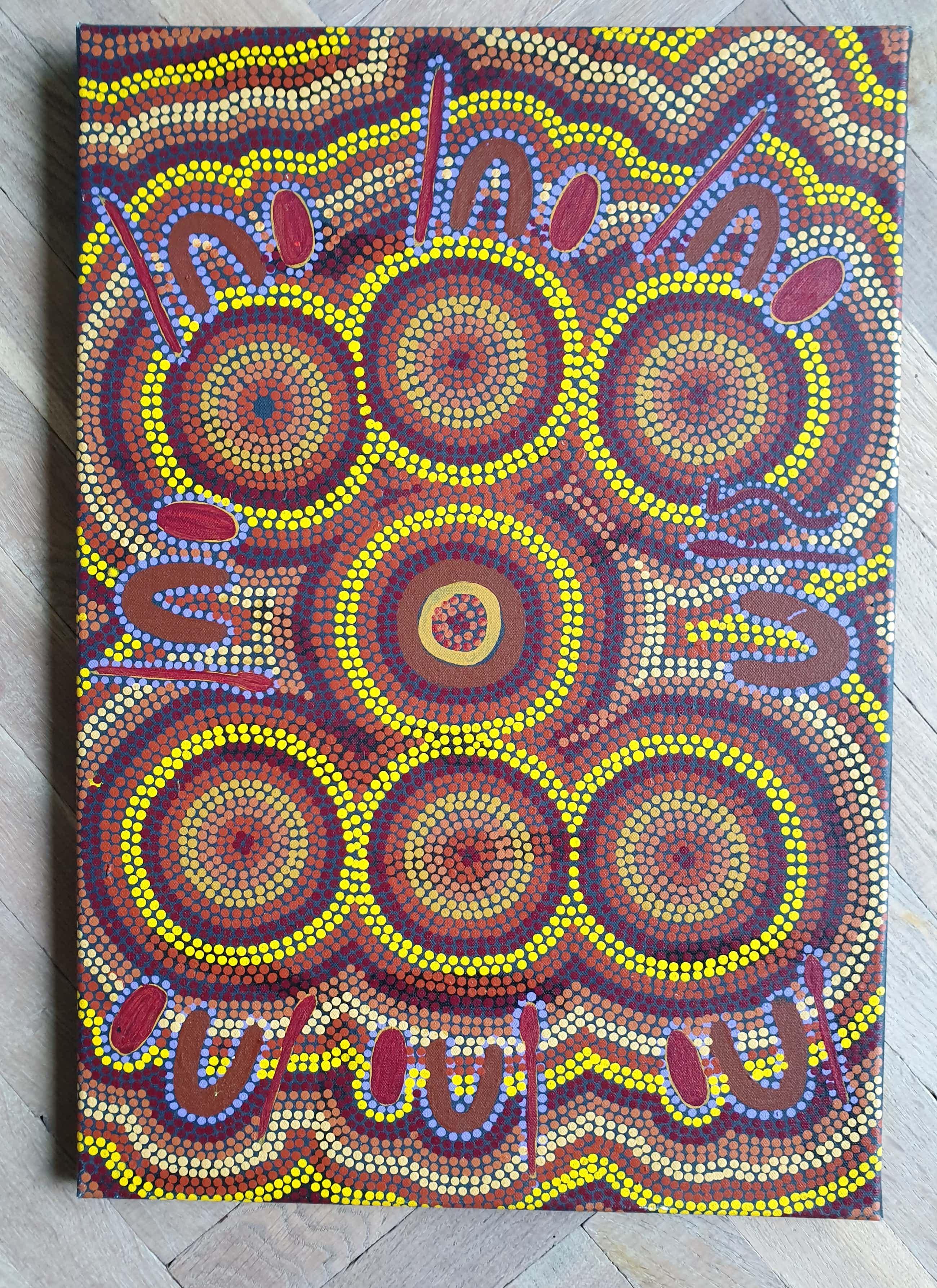 Niet of onleesbaar gesigneerd - Initialen BL 132 - Aboriginal Kunst - Jurkurrpa - 58 x 40 cm kopen? Bied vanaf 45!