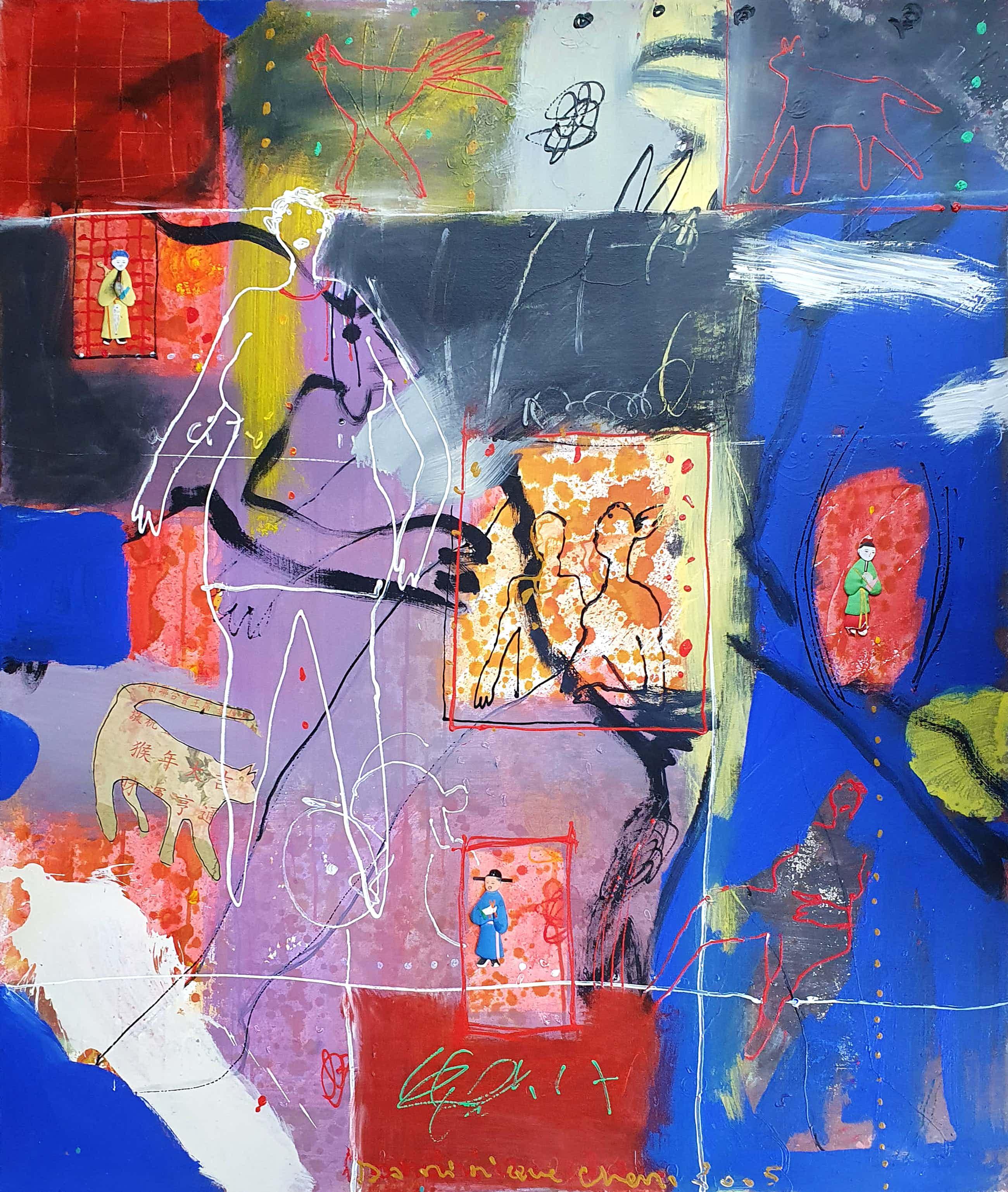 Dominique Chan - Acryl en collage op doek (Groot) kopen? Bied vanaf 300!