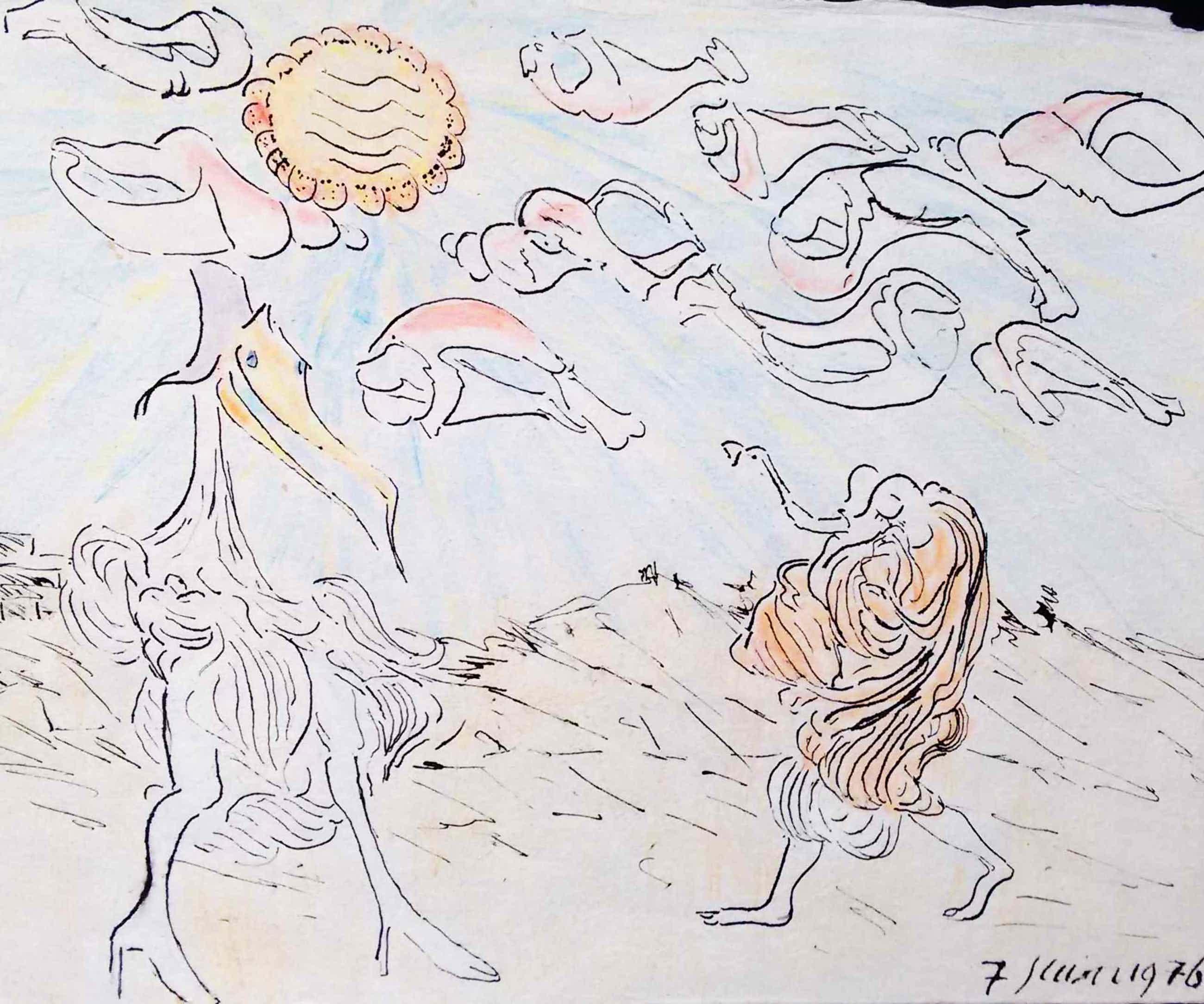 Reinhoud D'Haese - tekening, gedateerd en ingelijst. CoBrA kunstenaar kopen? Bied vanaf 330!