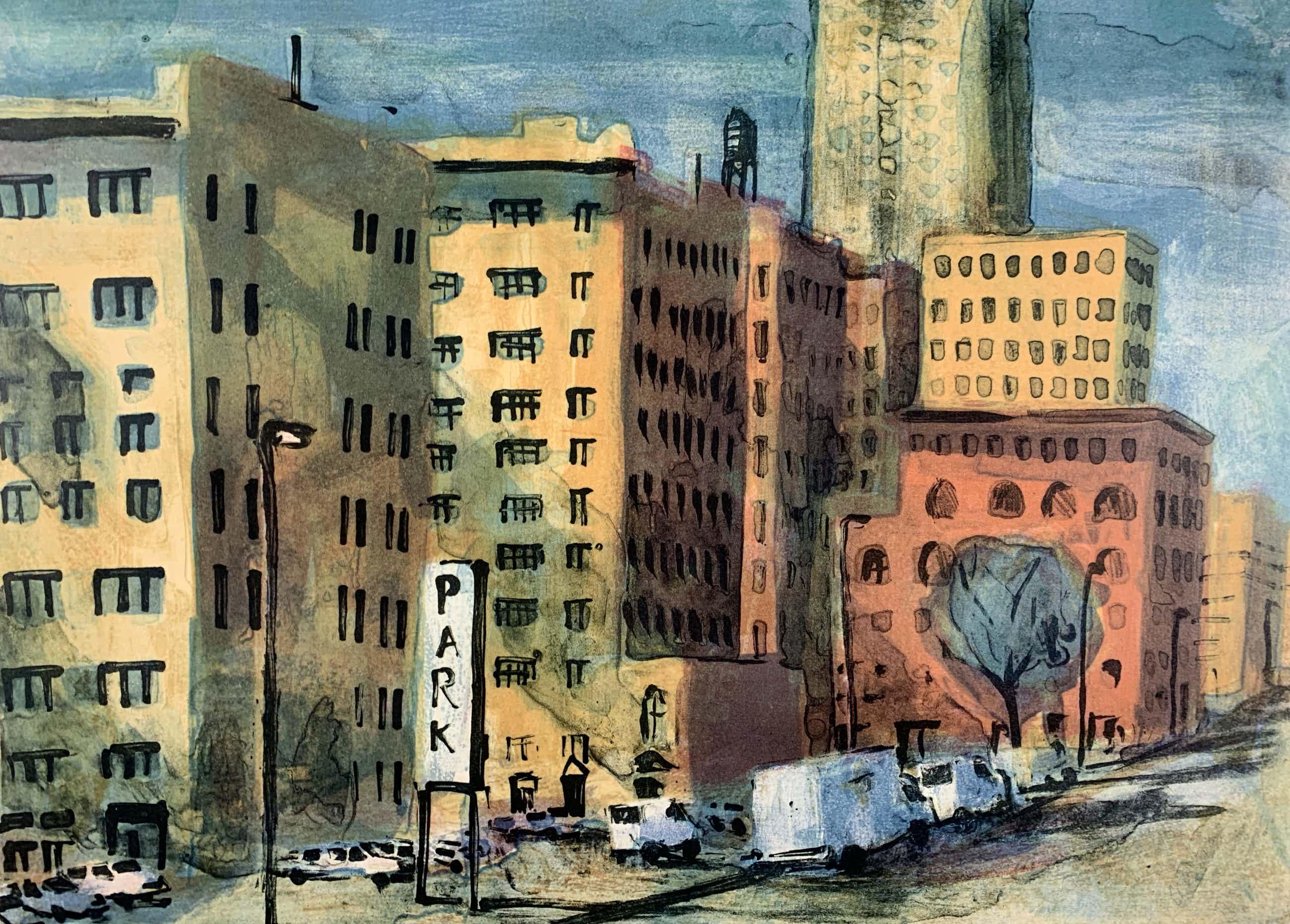 Jeroen Hermkens - Kleurenlitho - 'New York, Sixth Avenue' - 1995 kopen? Bied vanaf 80!