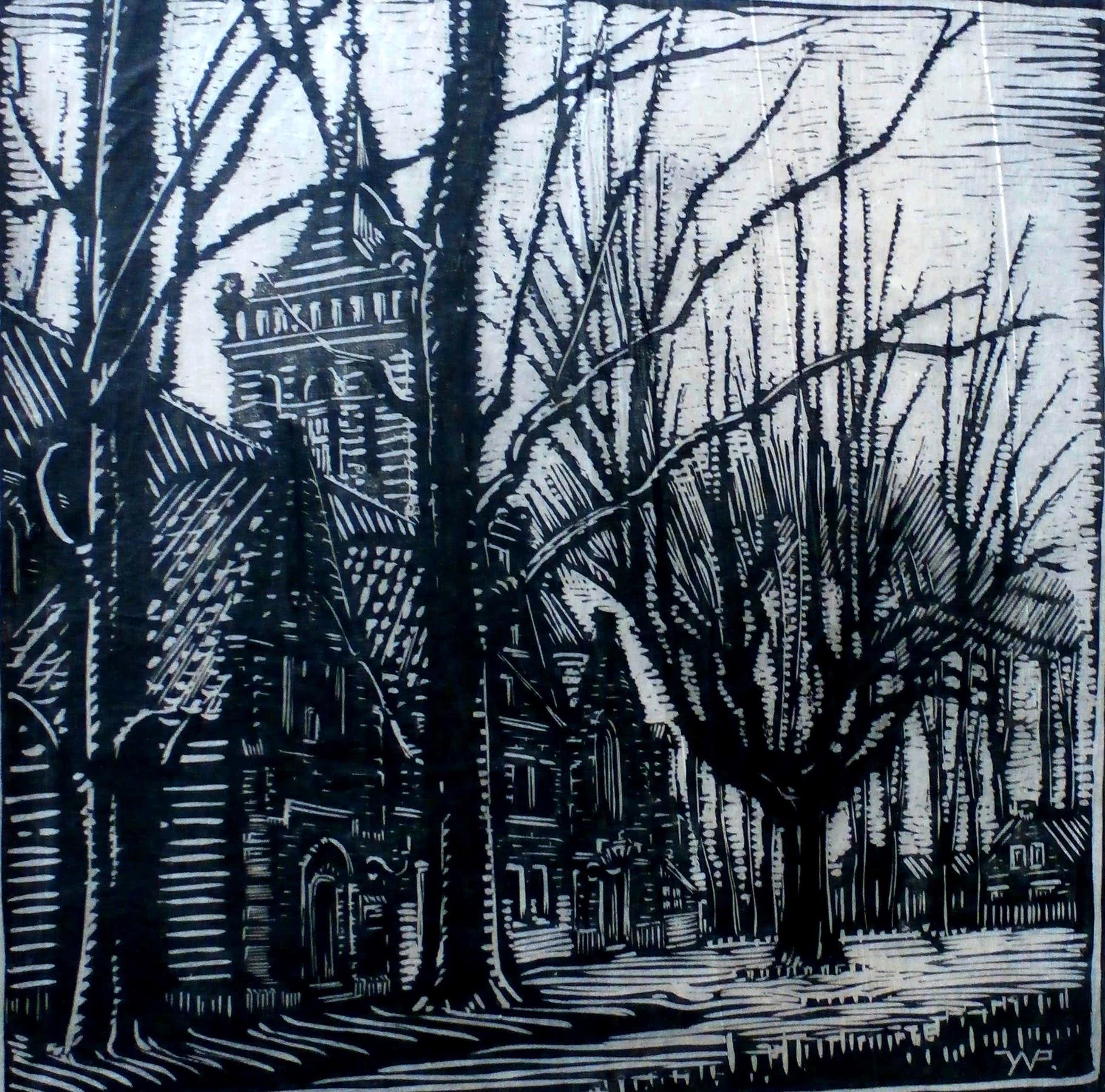 Joseph van de Wall Perne - houtsnede: oude kerk Monikkendam kopen? Bied vanaf 35!