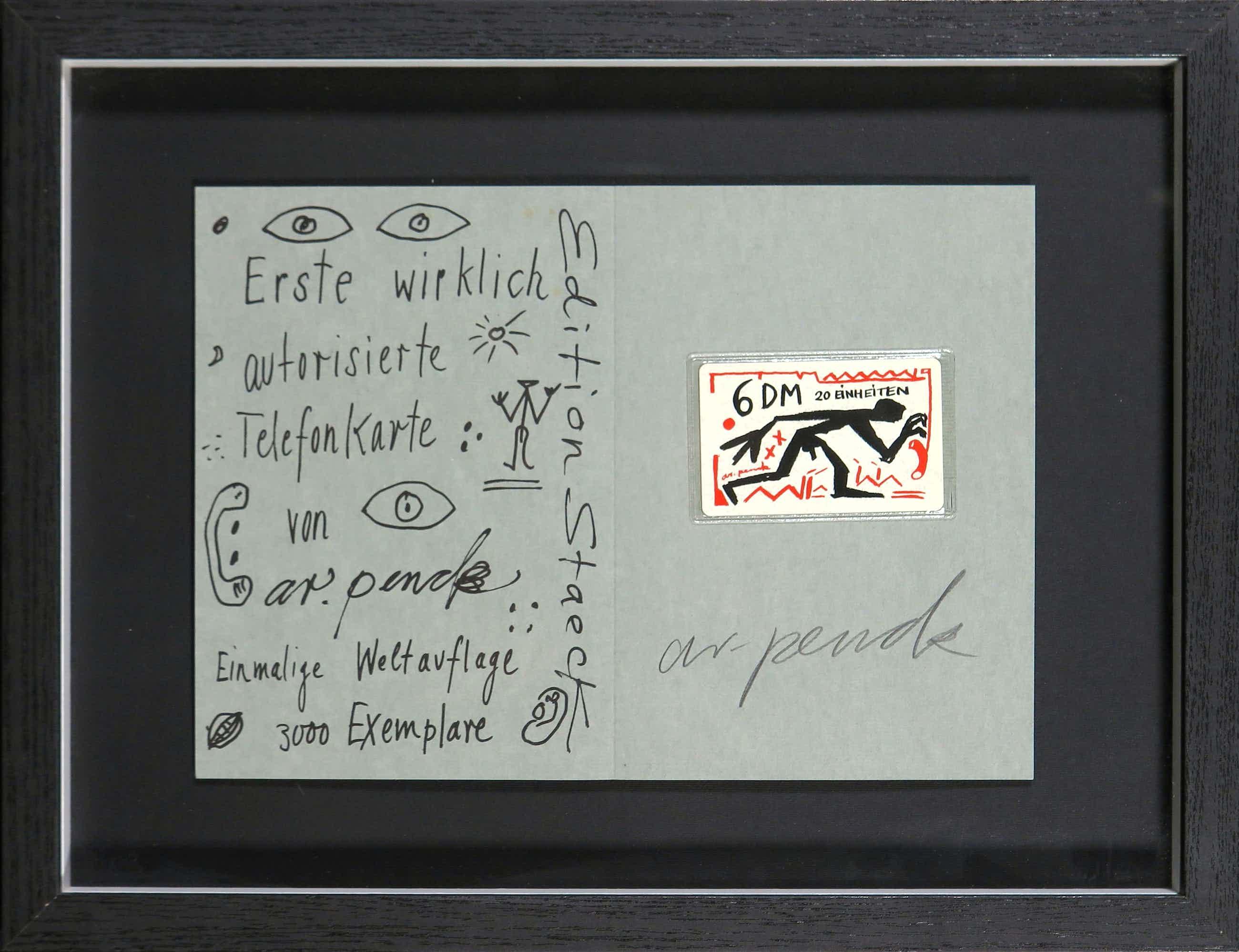 A.R. Penck - Gesigneerde zeefdruk met (ongeopende) telefoonkaart kopen? Bied vanaf 130!