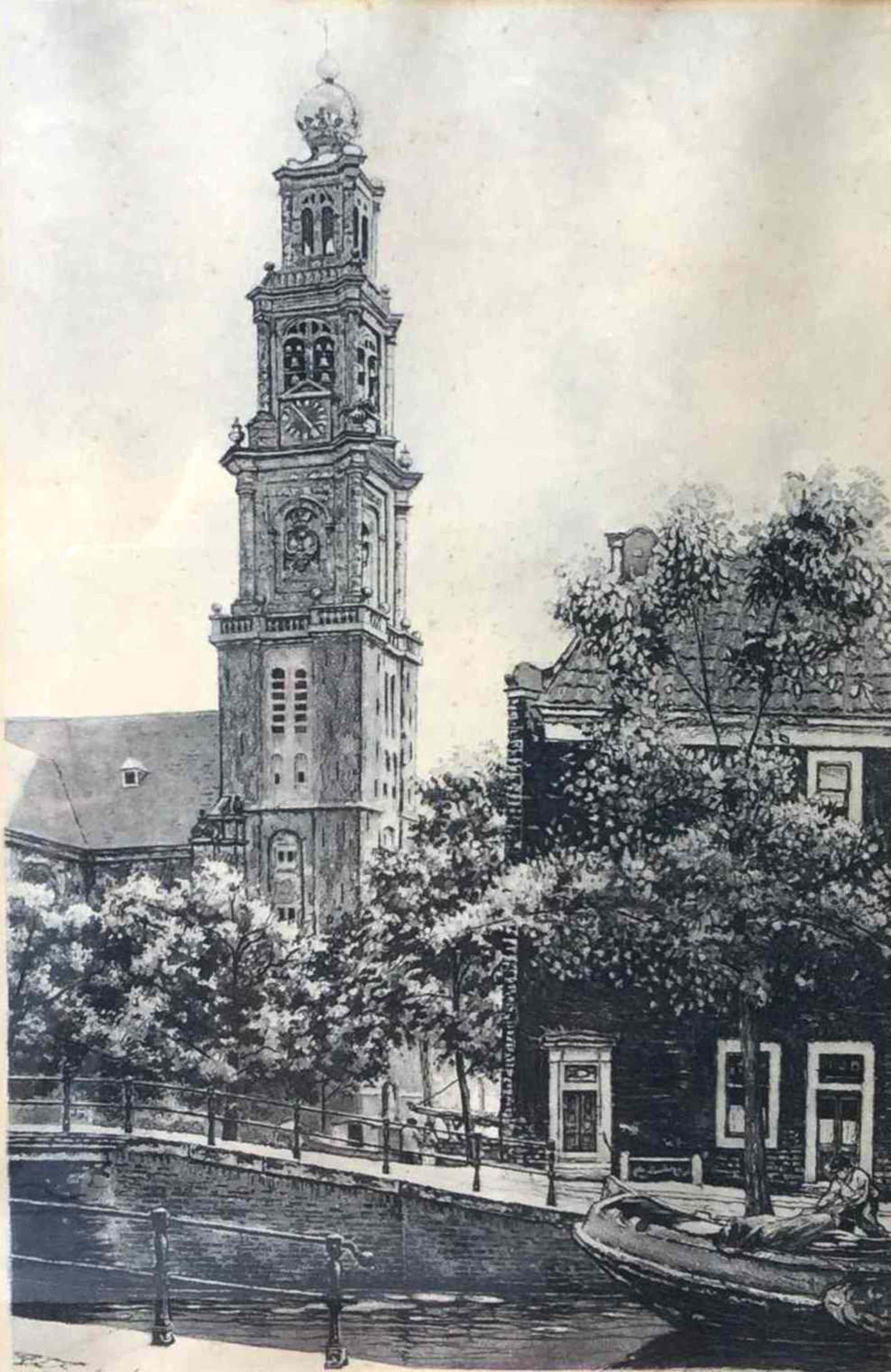 Cornelis Brandenburg - C4721-1, ets Westerkerk Amsterdam kopen? Bied vanaf 50!