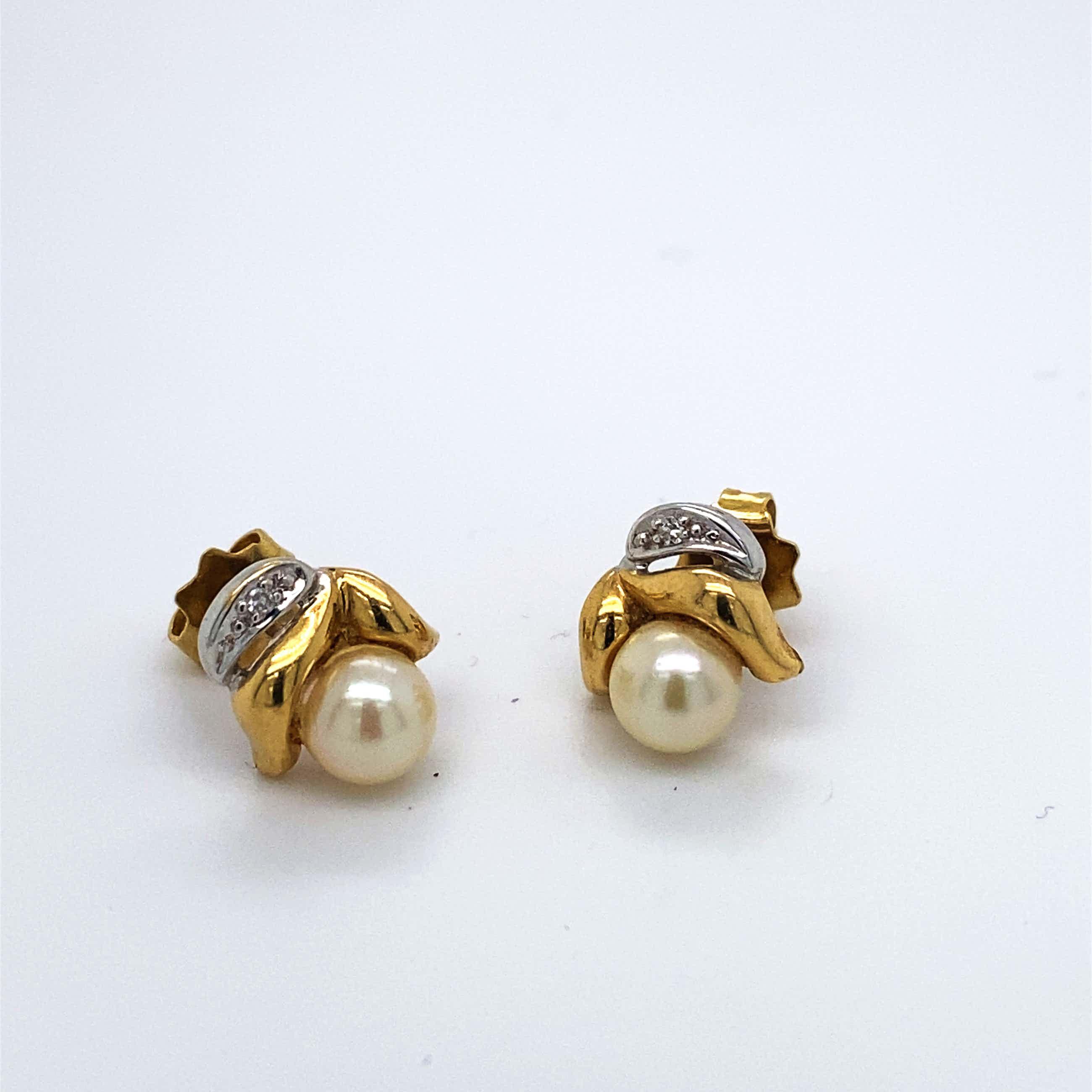 18kt gouden oorsteker+diamant+parel, 2,44 gr kopen? Bied vanaf 90!