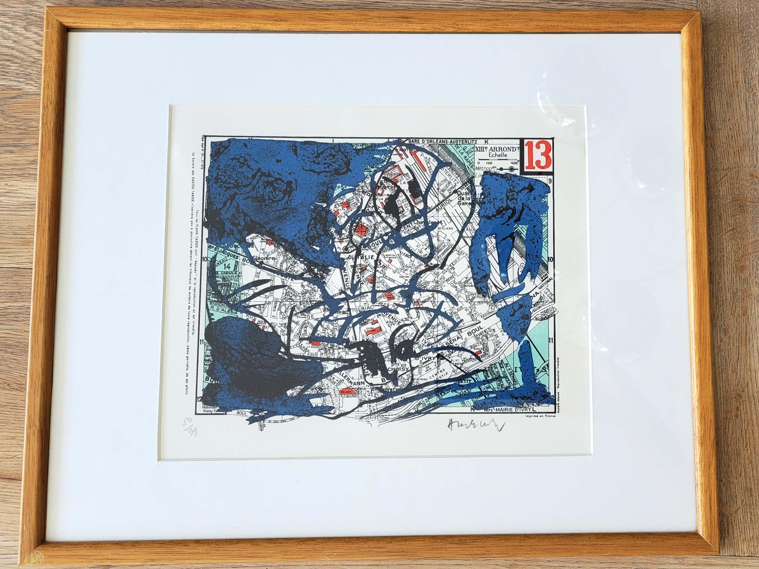 Pierre Alechinsky - Paris, Arrondissement 13 - ingelijste litho - 1983 - oplage 99 kopen? Bied vanaf 620!
