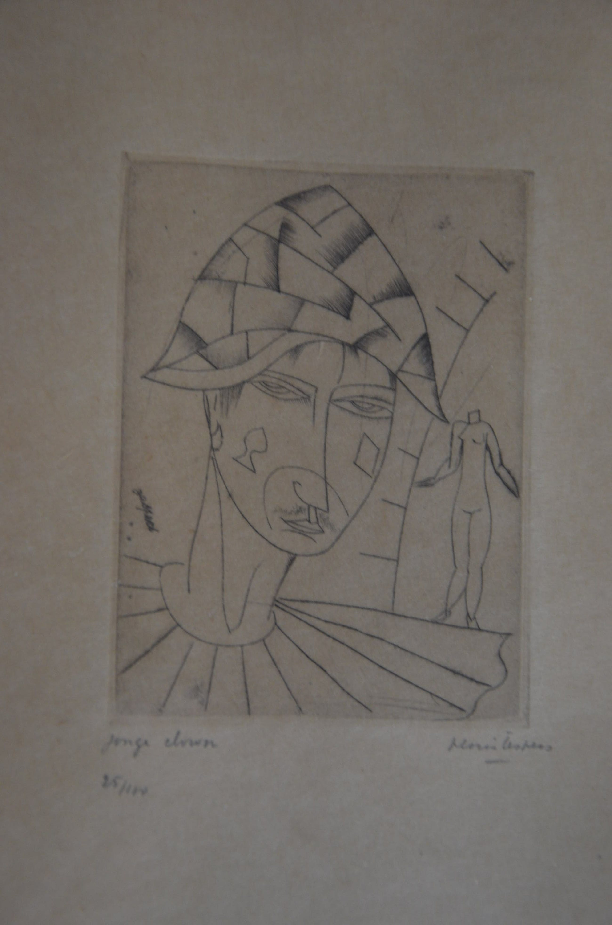 """Floris Jespers - Jespers Floris """"Arlequin amoureux (of Jonge clown)"""" ets - getekend in potlood kopen? Bied vanaf 150!"""
