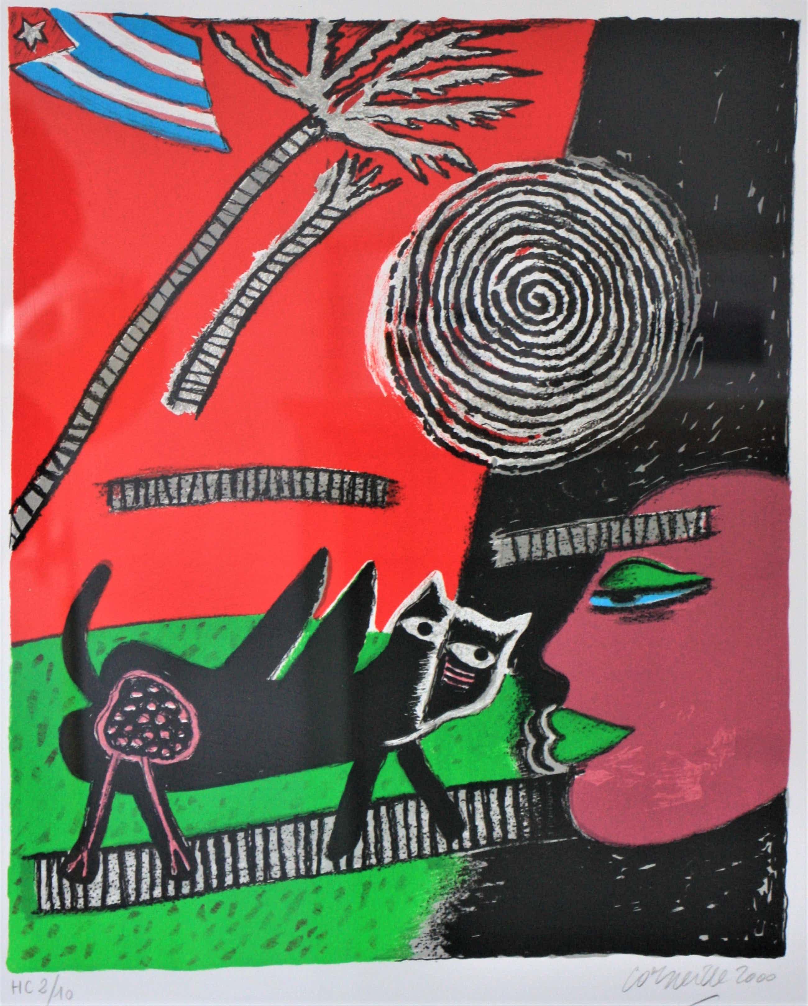 Corneille - Abstracte compositie met Cubaanse vlag, kat en gezicht kopen? Bied vanaf 250!