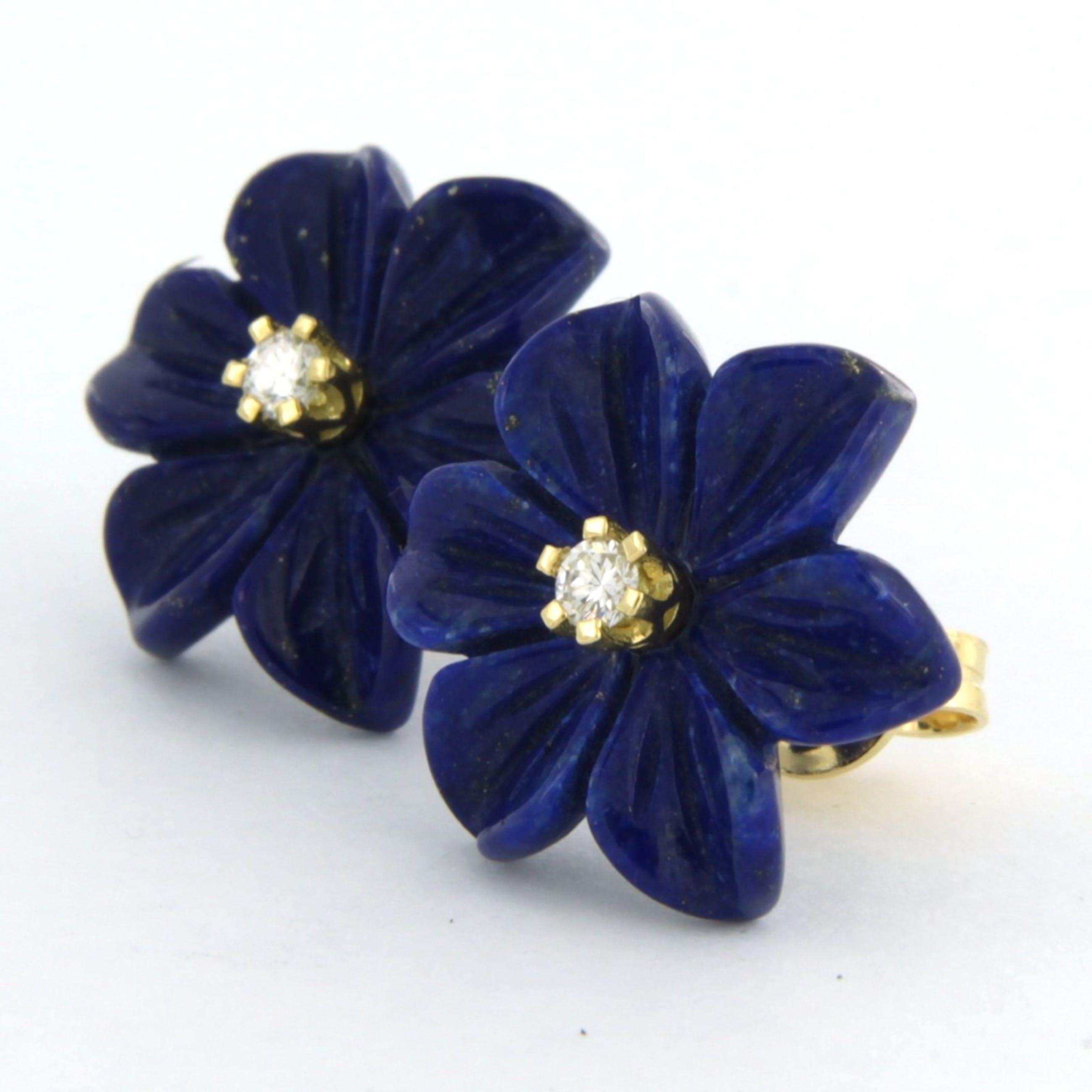 18k geel gouden oorknoppen met lapis lazuli en briljant geslepen diamant 0.08 ct kopen? Bied vanaf 150!
