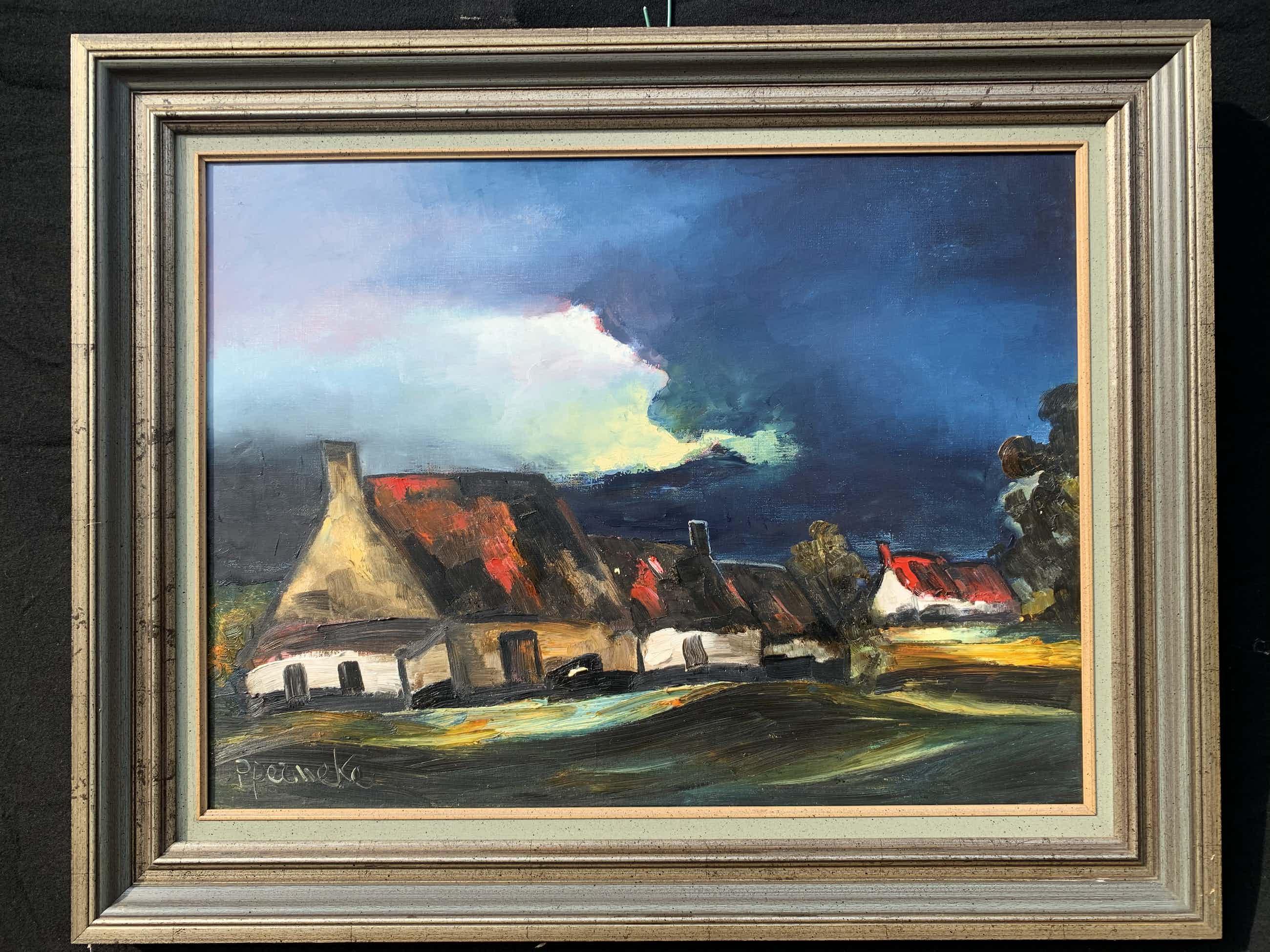 Paul Permeke - Olieverf schilderij: boerderij en dreigend onweer kopen? Bied vanaf 710!