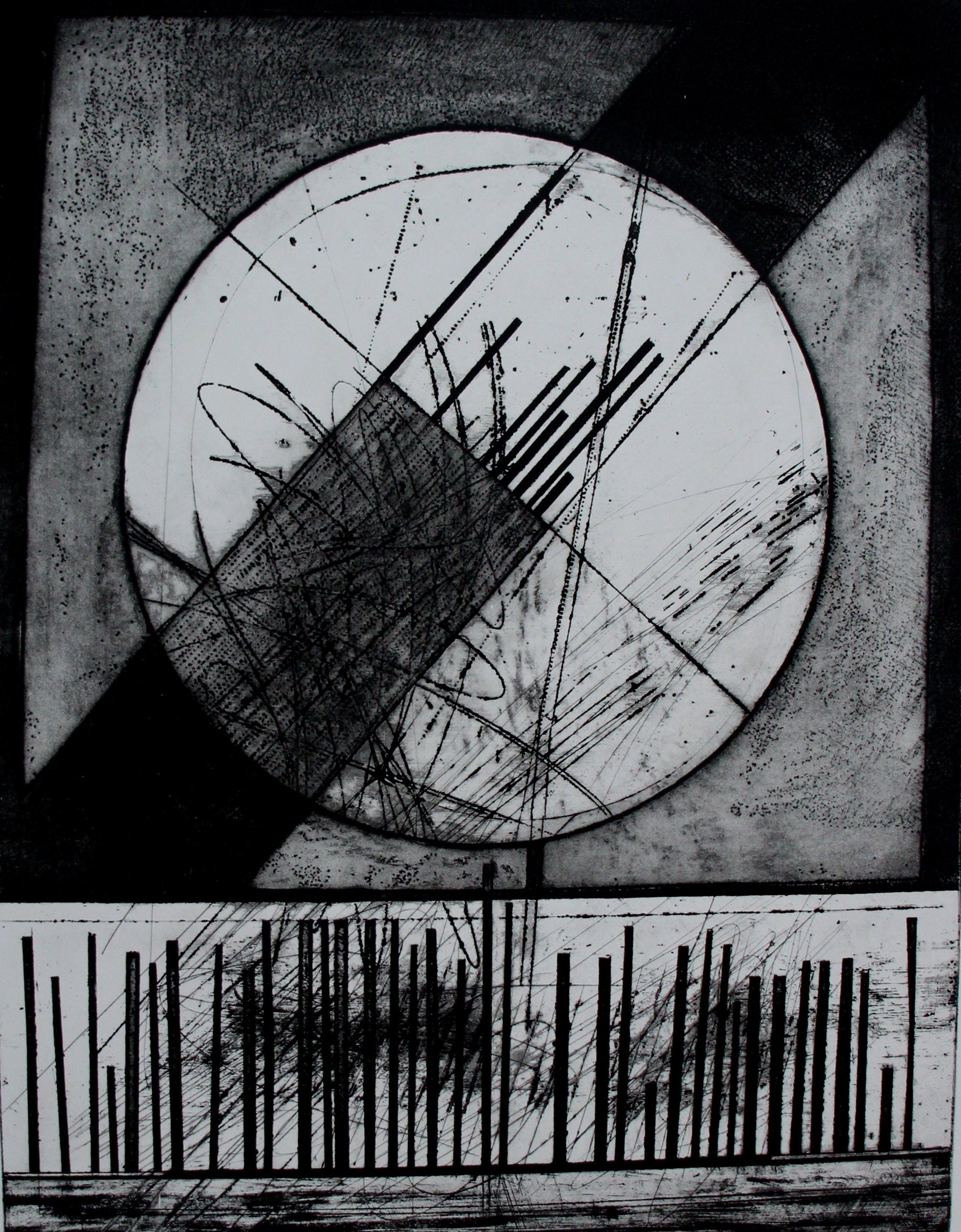 Ko Oosterkerk - Abstracte ets - 1968 kopen? Bied vanaf 50!