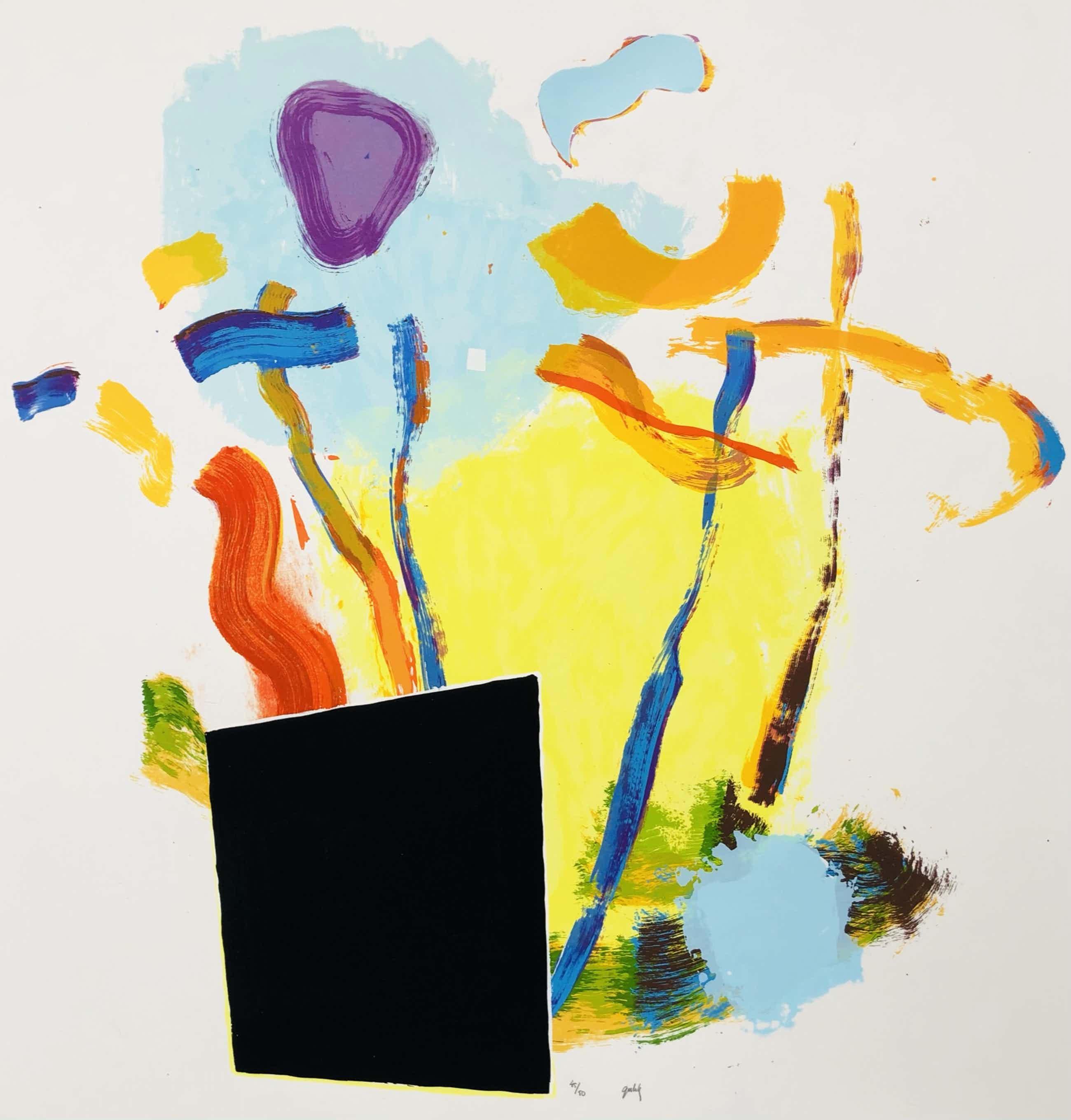 Bert van Gulik - compositie met zwart vlak kopen? Bied vanaf 65!