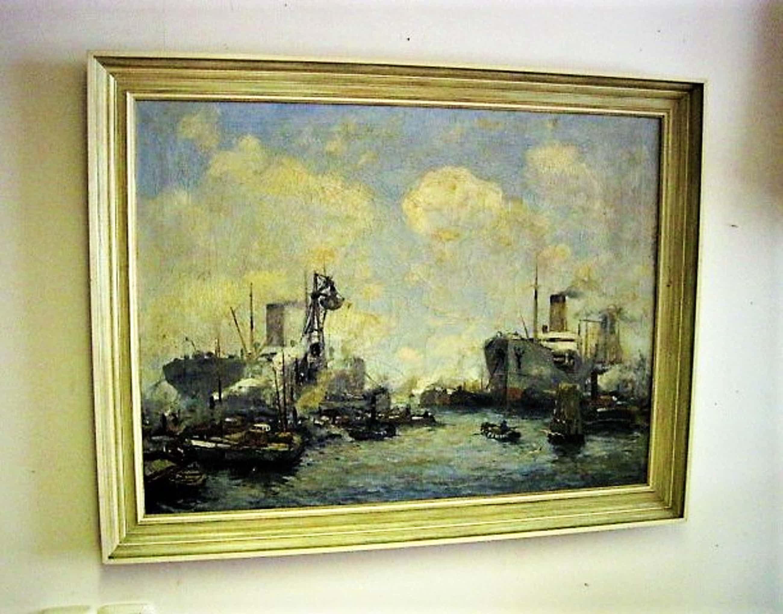 """Jan Sirks - GROOT circa 1930 OLIEVERF schilderij """"bedrijvigheid in Rotterdam Maashaven"""" kopen? Bied vanaf 180!"""