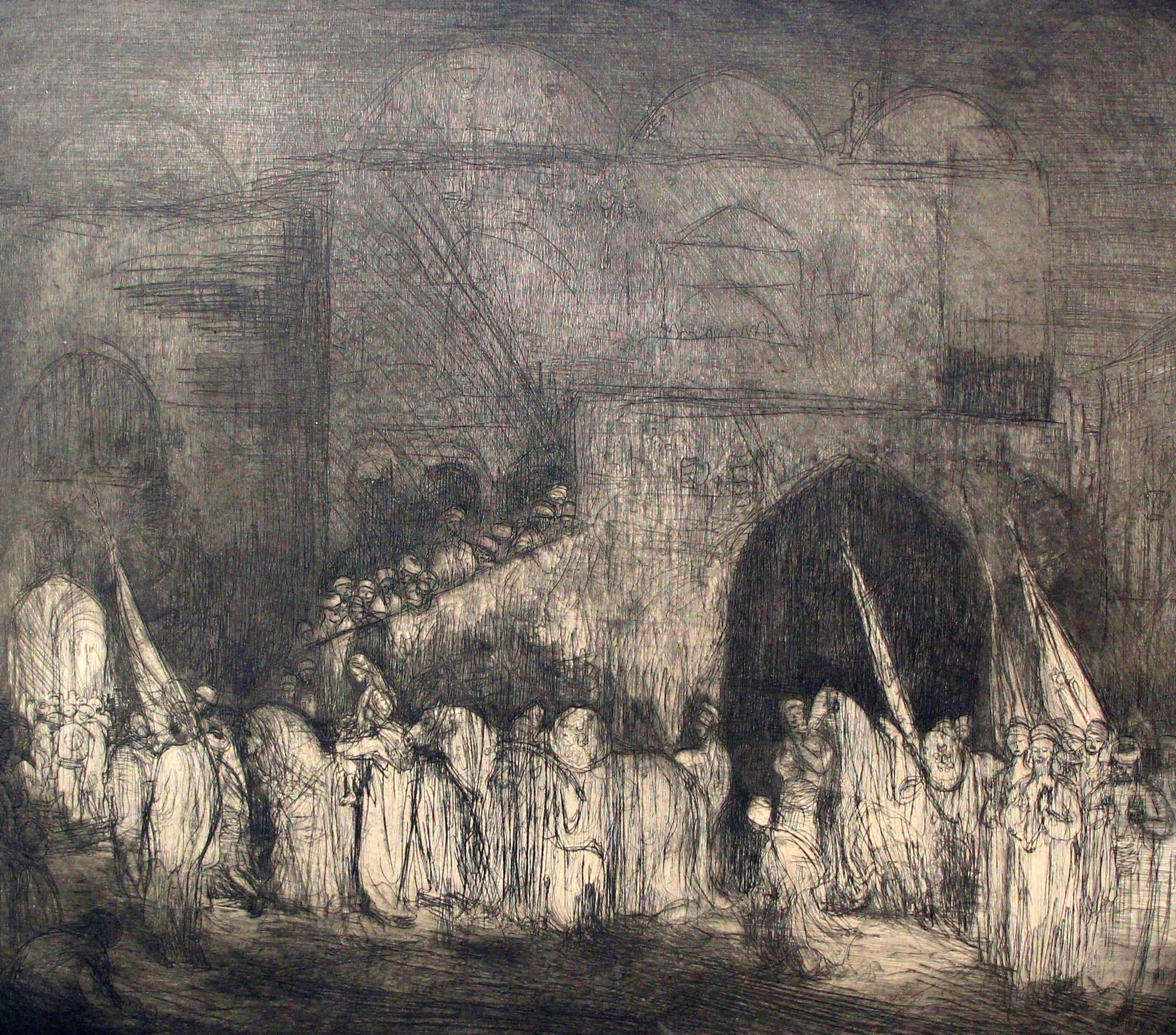 Marius Bauer - ets: een Perzisch feest - 1890 (groot) kopen? Bied vanaf 250!