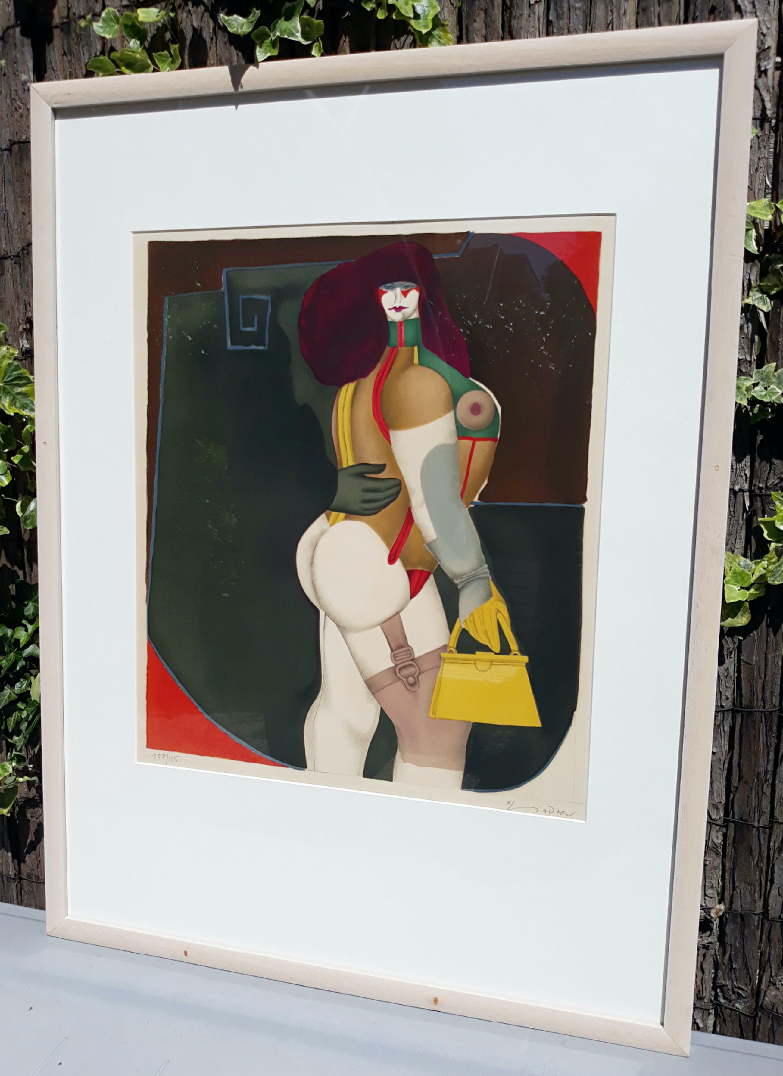 Richard Lindner - Woman with yellow handbag, litho (netjes ingelijst) kopen? Bied vanaf 300!