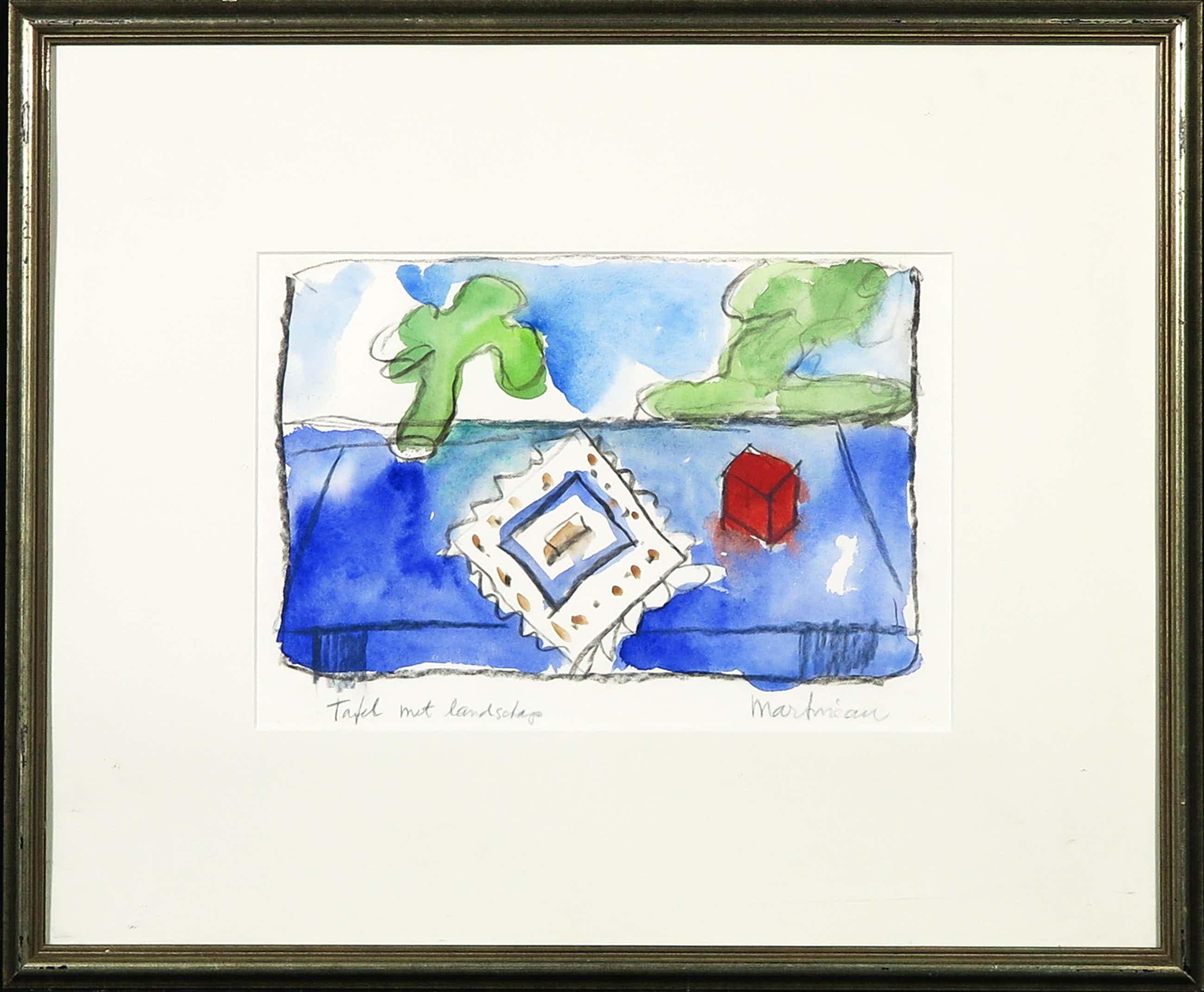 Anton Martineau - Aquarel en houtskool op papier, Tafel met landschap - Ingelijst kopen? Bied vanaf 40!