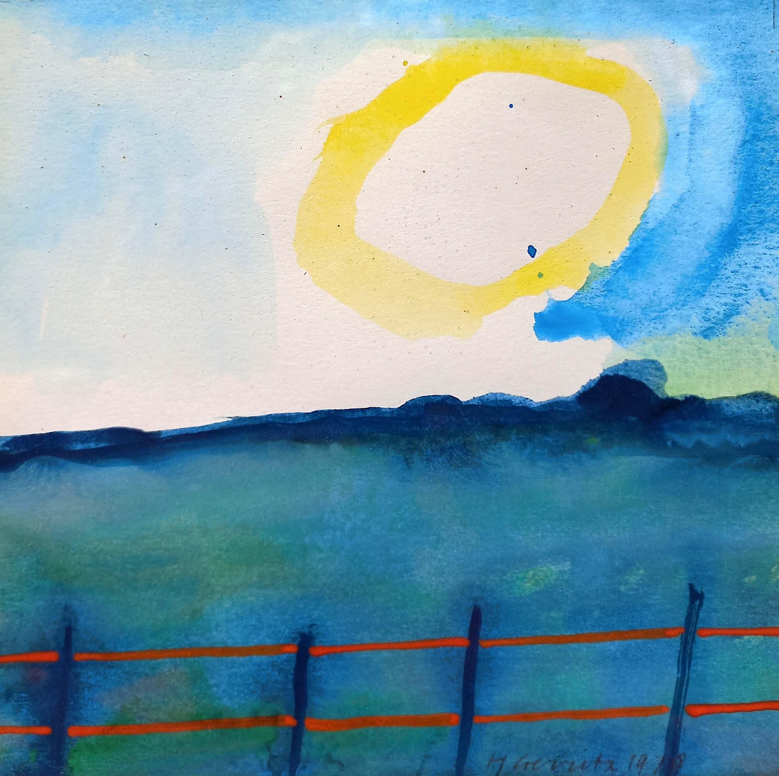 Harrie Gerritz - Zonnig landschap, aquarel (ingelijst) kopen? Bied vanaf 125!