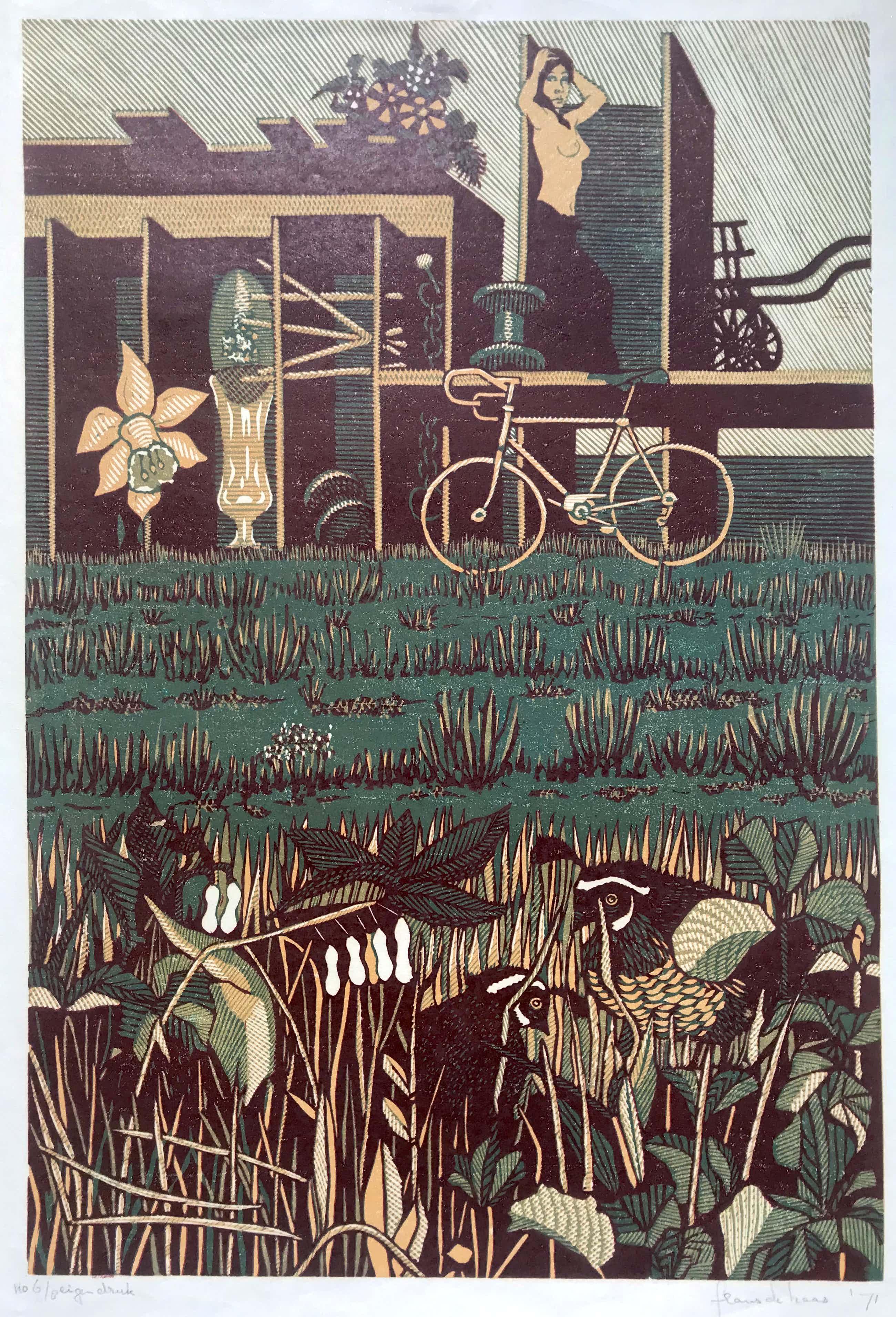 Frans de Haas - Vrouw met Vogels - Eigendruk -Zeer kleine oplage 6/8, Handgesigneerd -1971 kopen? Bied vanaf 100!