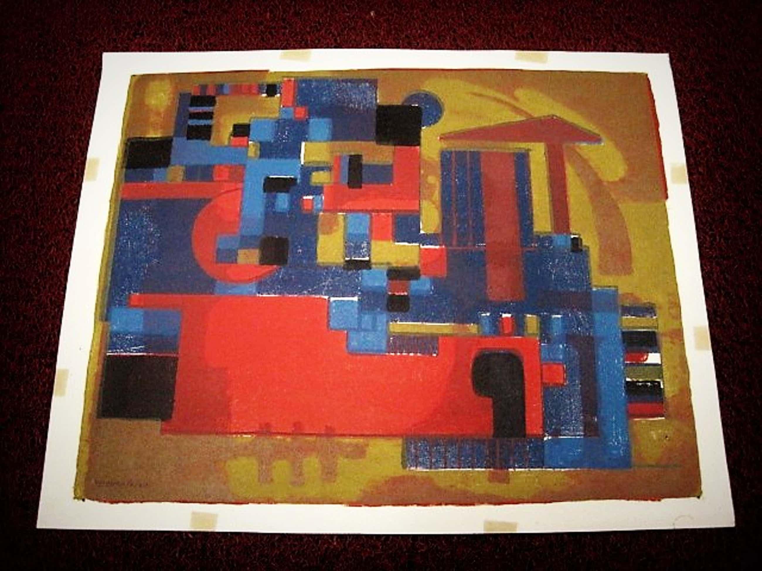 """Wim Motz - Bijzondere 1956 geometrische Lithografie """"Haven Rotterdam met tanker"""" handgesign kopen? Bied vanaf 45!"""