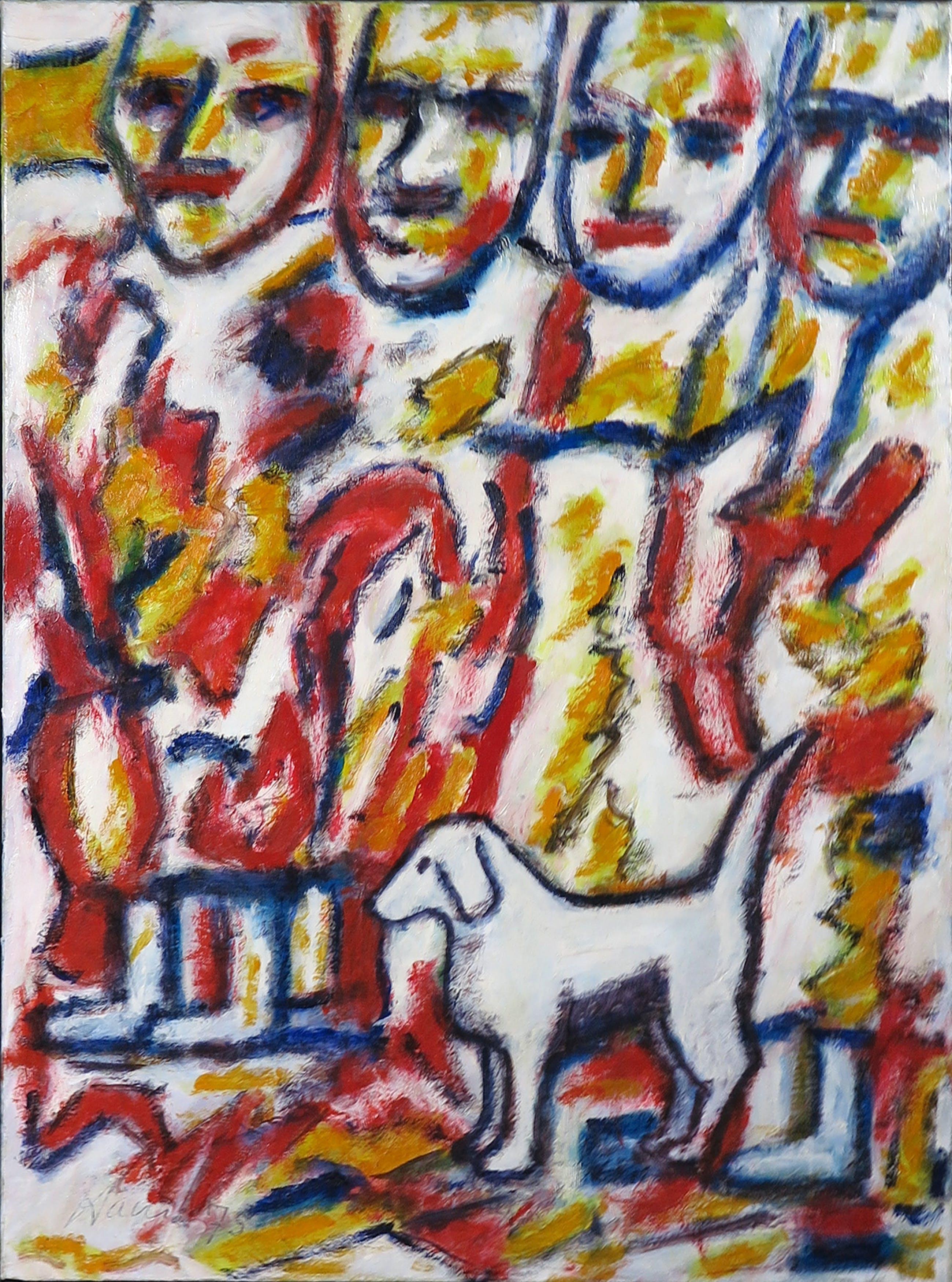 Pieter Haan - Acryl op board, Vier figuren en een hond kopen? Bied vanaf 1!