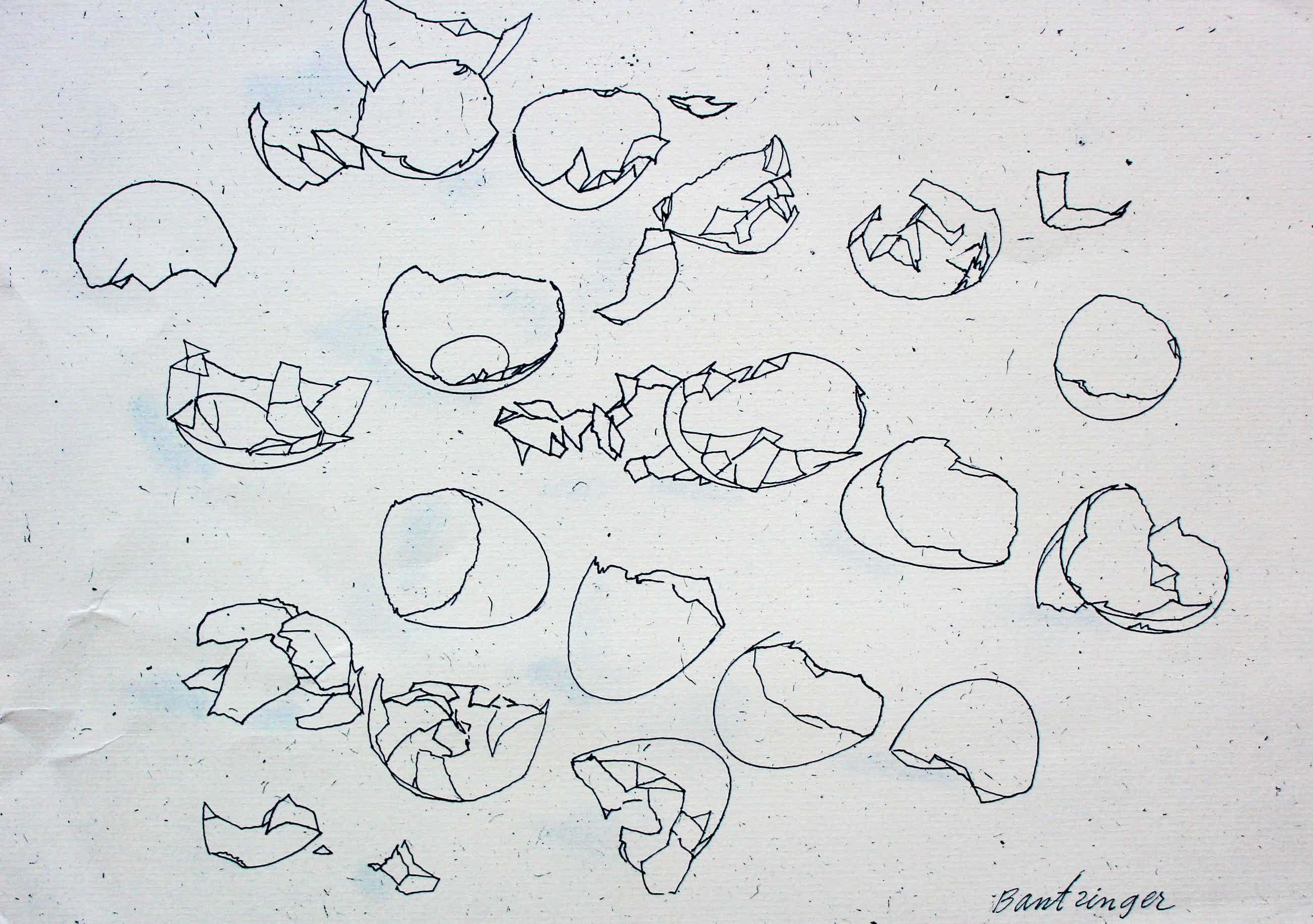 Cees Bantzinger - Pen tekening: Nieuwjaarskaart met een tekst van Joop Braakhekke - 1984 kopen? Bied vanaf 55!