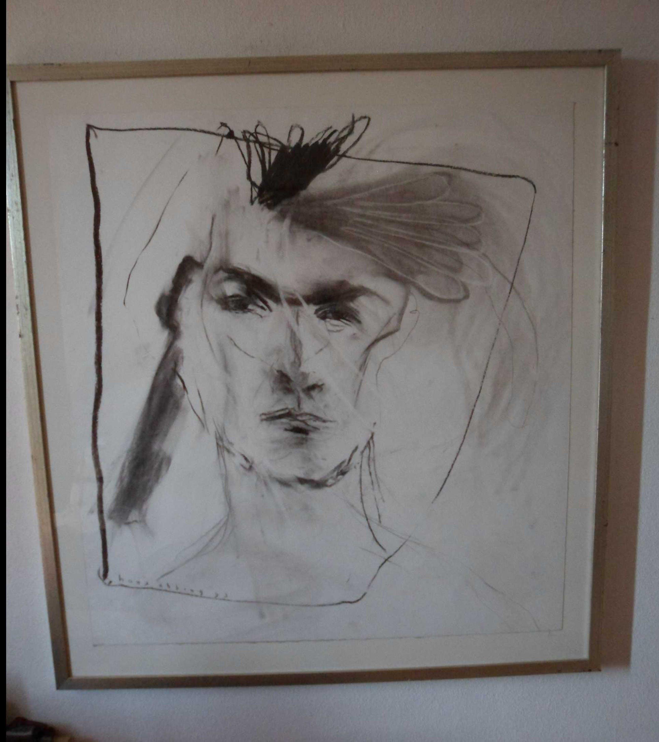 Hans Abbing - Houtskool tekening van een gezicht kopen? Bied vanaf 50!