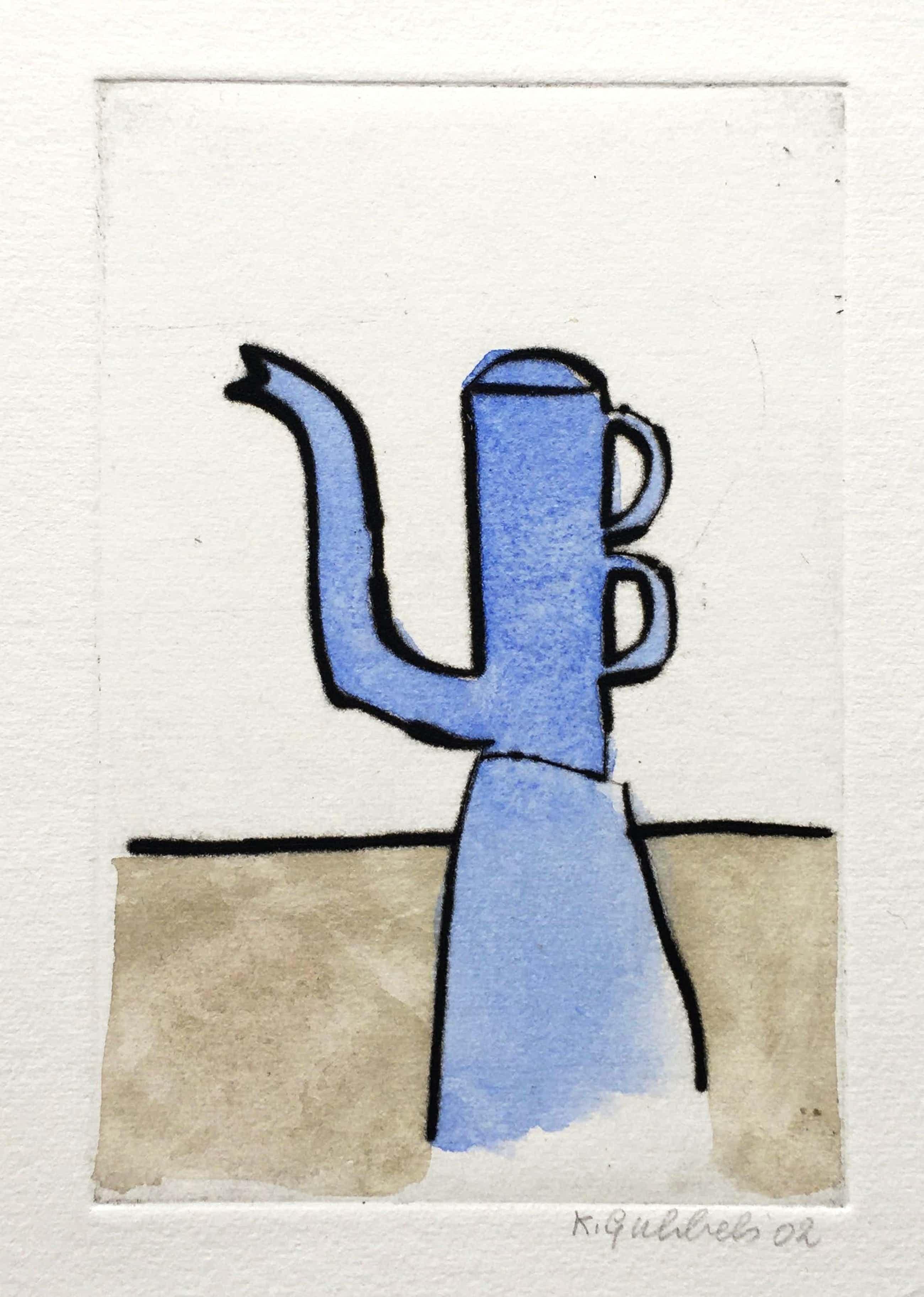Klaas Gubbels - ets met aquarel ingekleurd - 'Blauwe kan' - 2002 kopen? Bied vanaf 245!