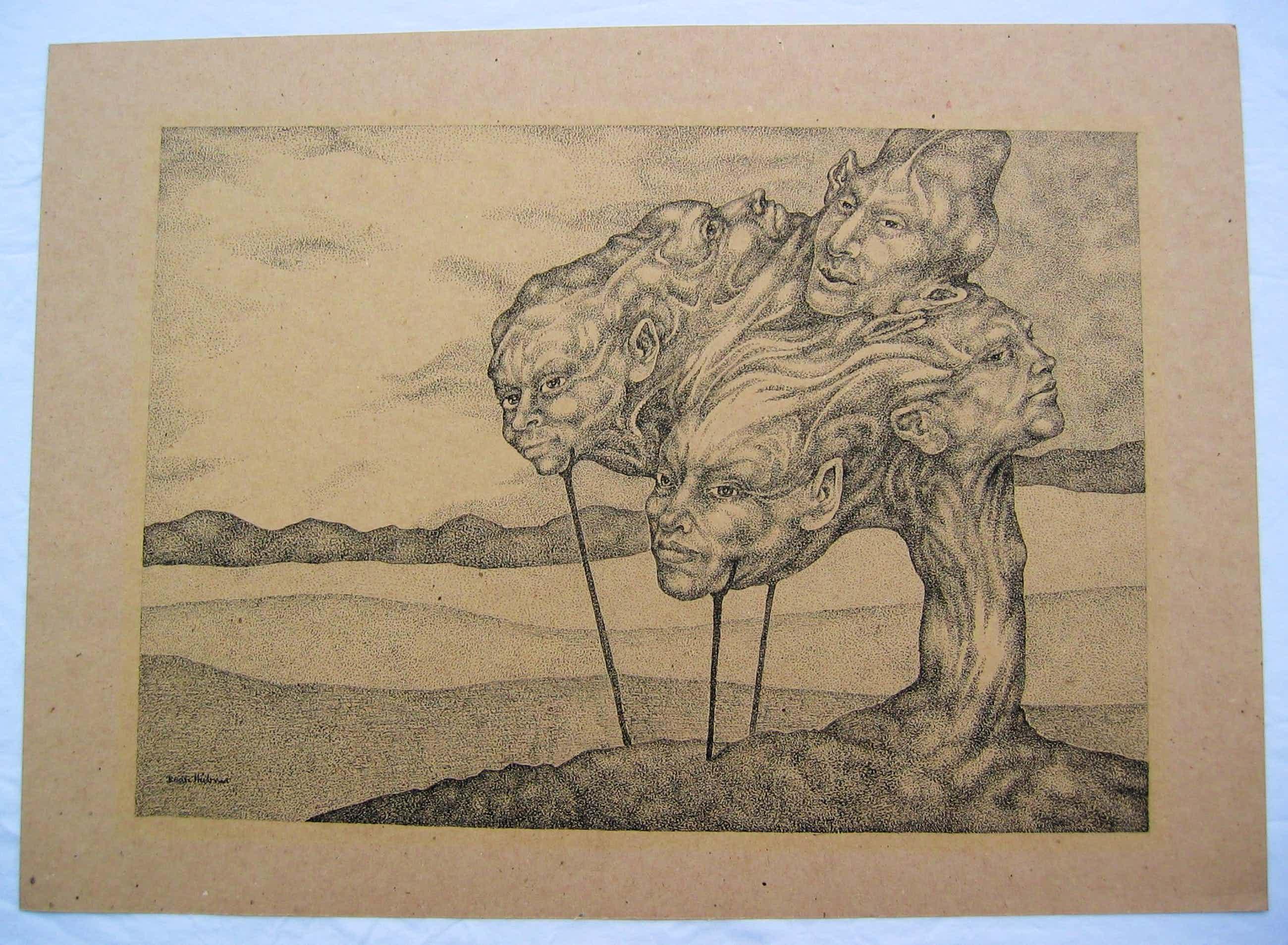 """Beate Hübner - """"Landschaft mit Kopflastigem Baum"""" Federzeichnung auf Packpapier, 1977 kopen? Bied vanaf 180!"""