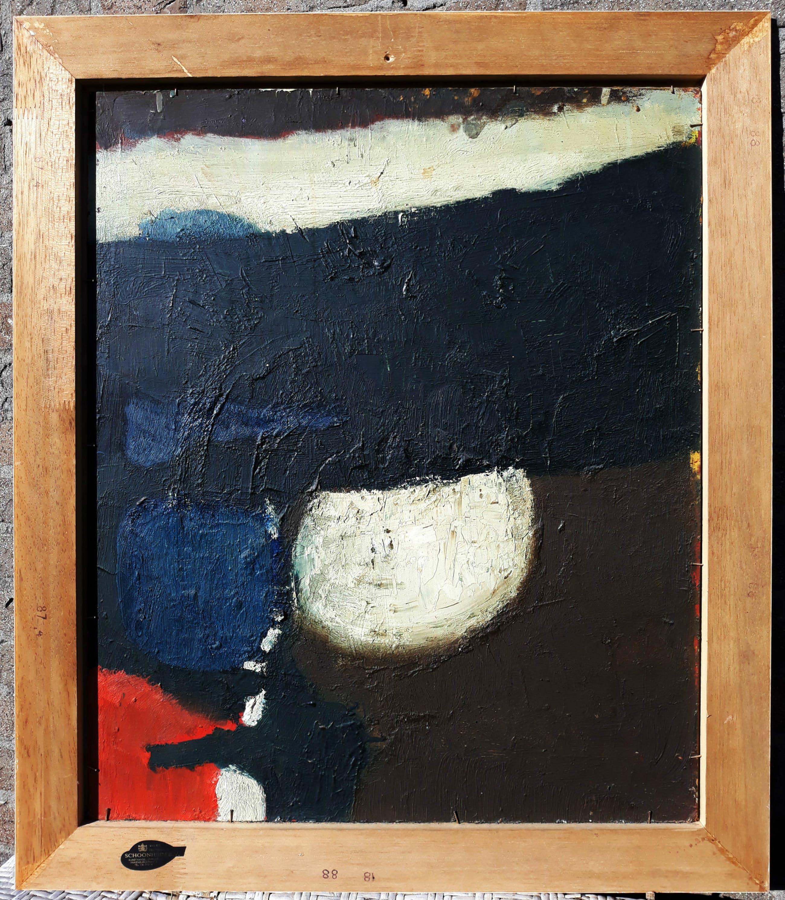Gerard Grassere - Abstracte compositie, olieverf op board (tweemaal, netjes ingelijst) kopen? Bied vanaf 295!