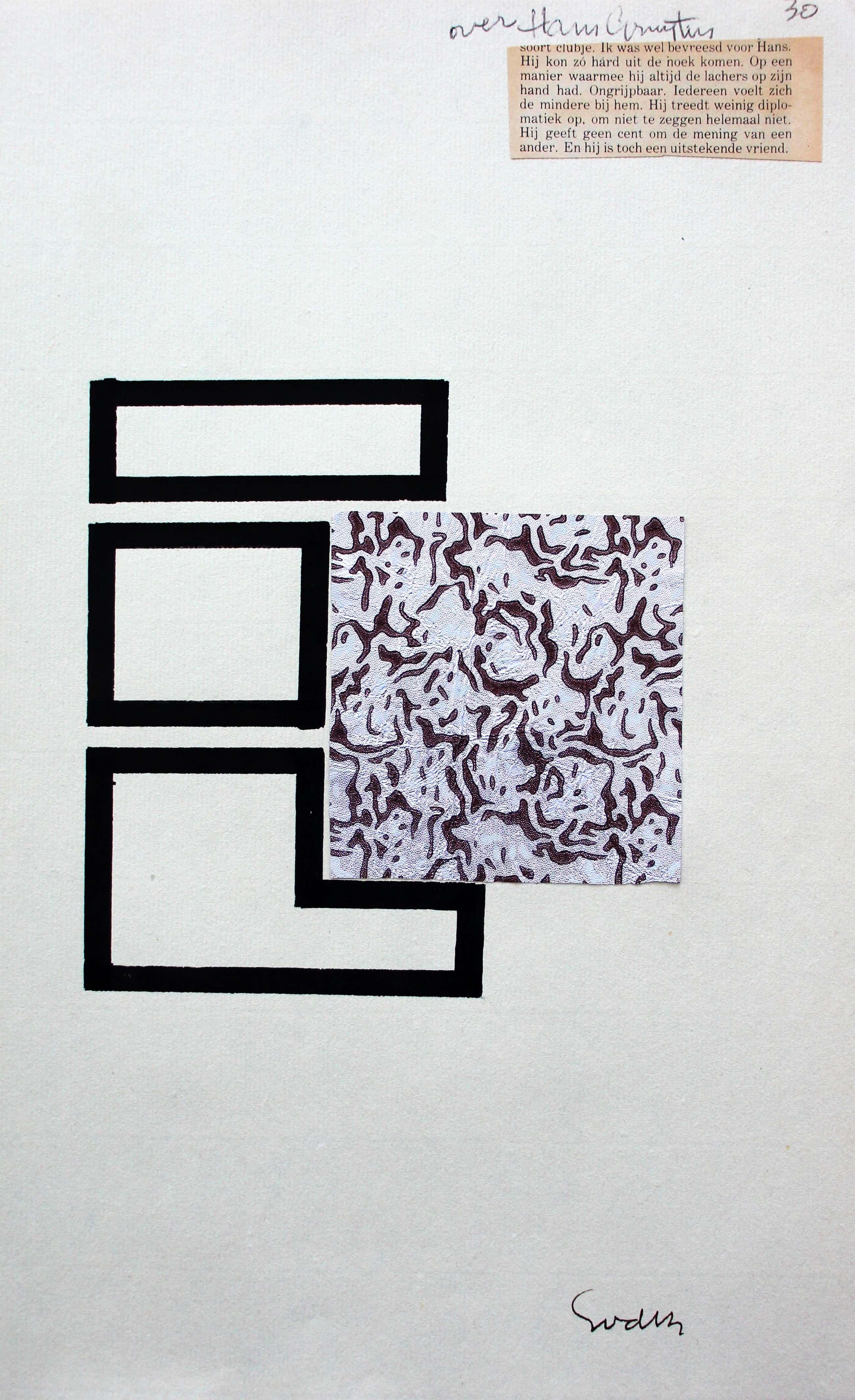 Siep van den Berg - collage/potloodtekening - 1977- gesigneerd kopen? Bied vanaf 85!
