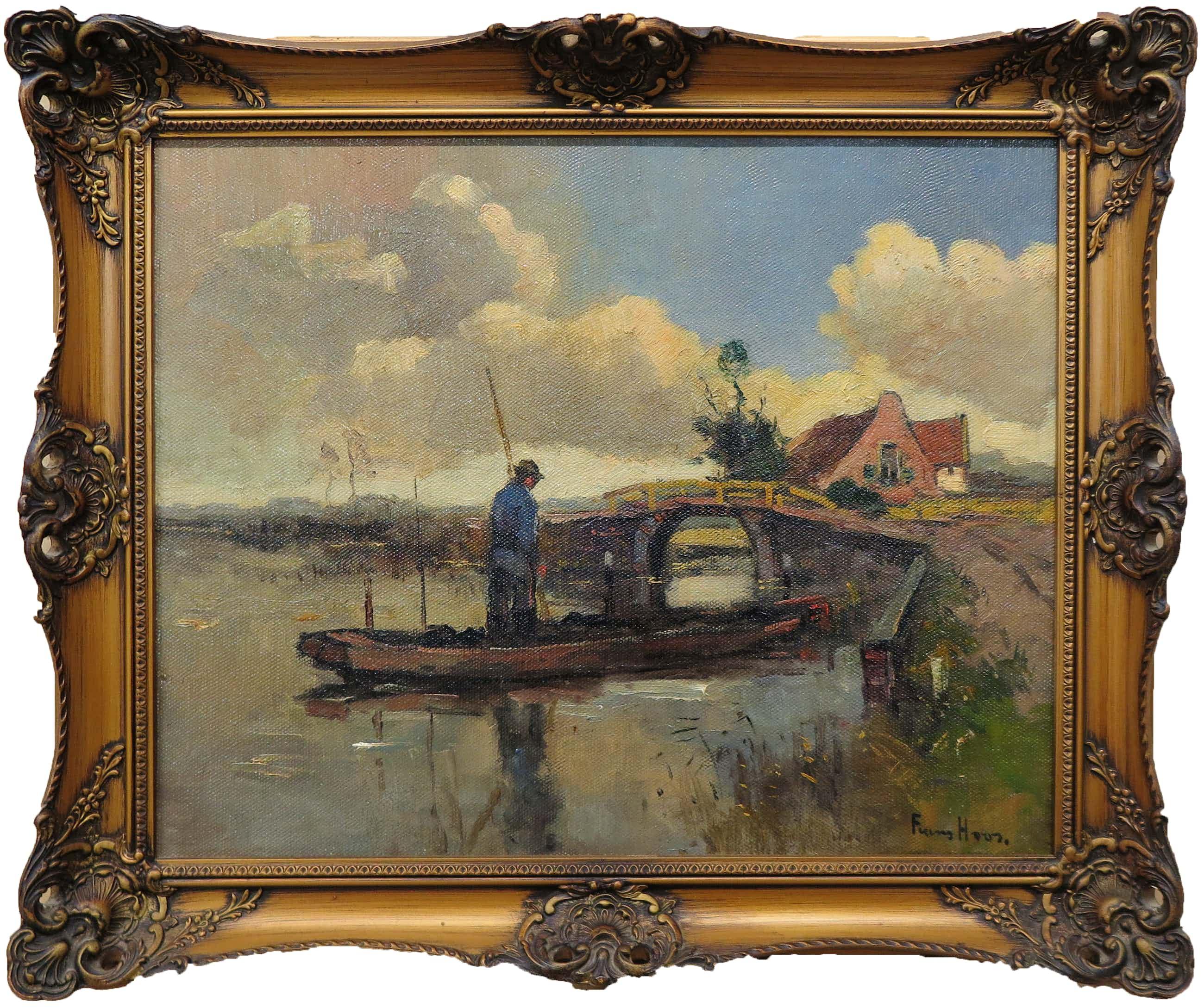 Frans Hoos - Olieverf op doek, Landschap met bootje - Ingelijst kopen? Bied vanaf 120!