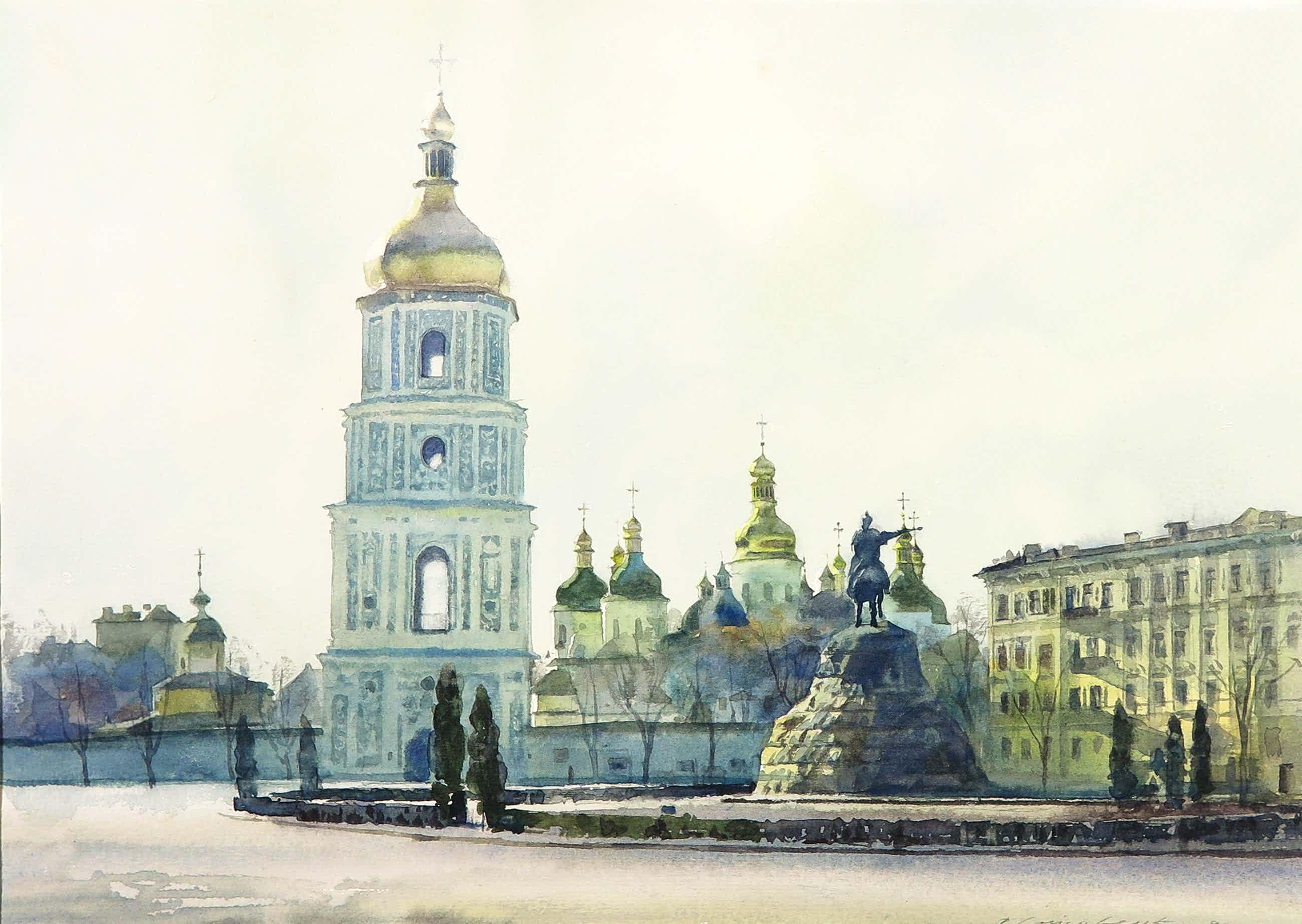 Niet of onleesbaar gesigneerd - Aquarel, Bohdan Khmelnytsky monument Kiev kopen? Bied vanaf 5!