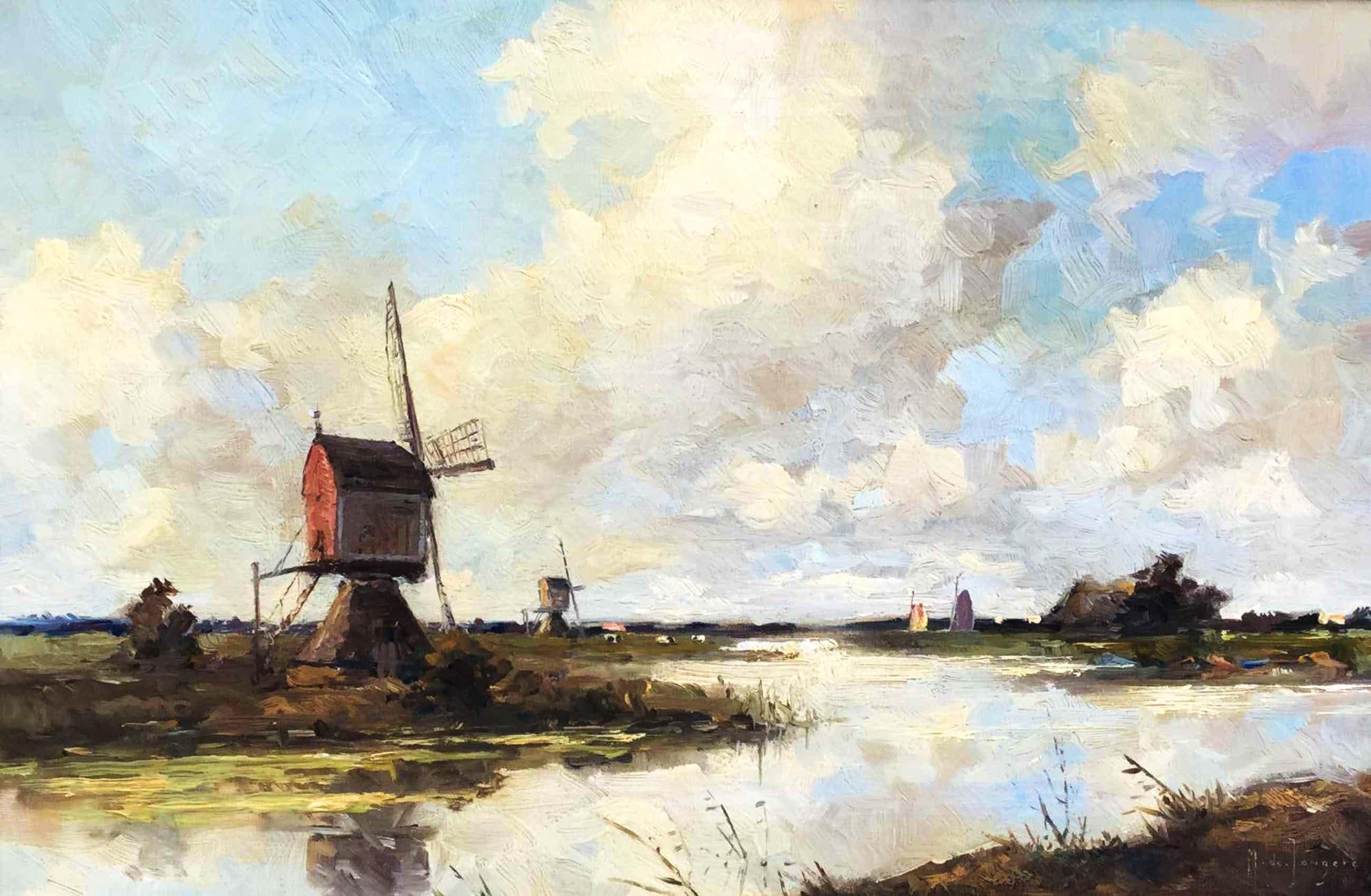 Marius de Jongere - Landschap met molens langs het water kopen? Bied vanaf 495!