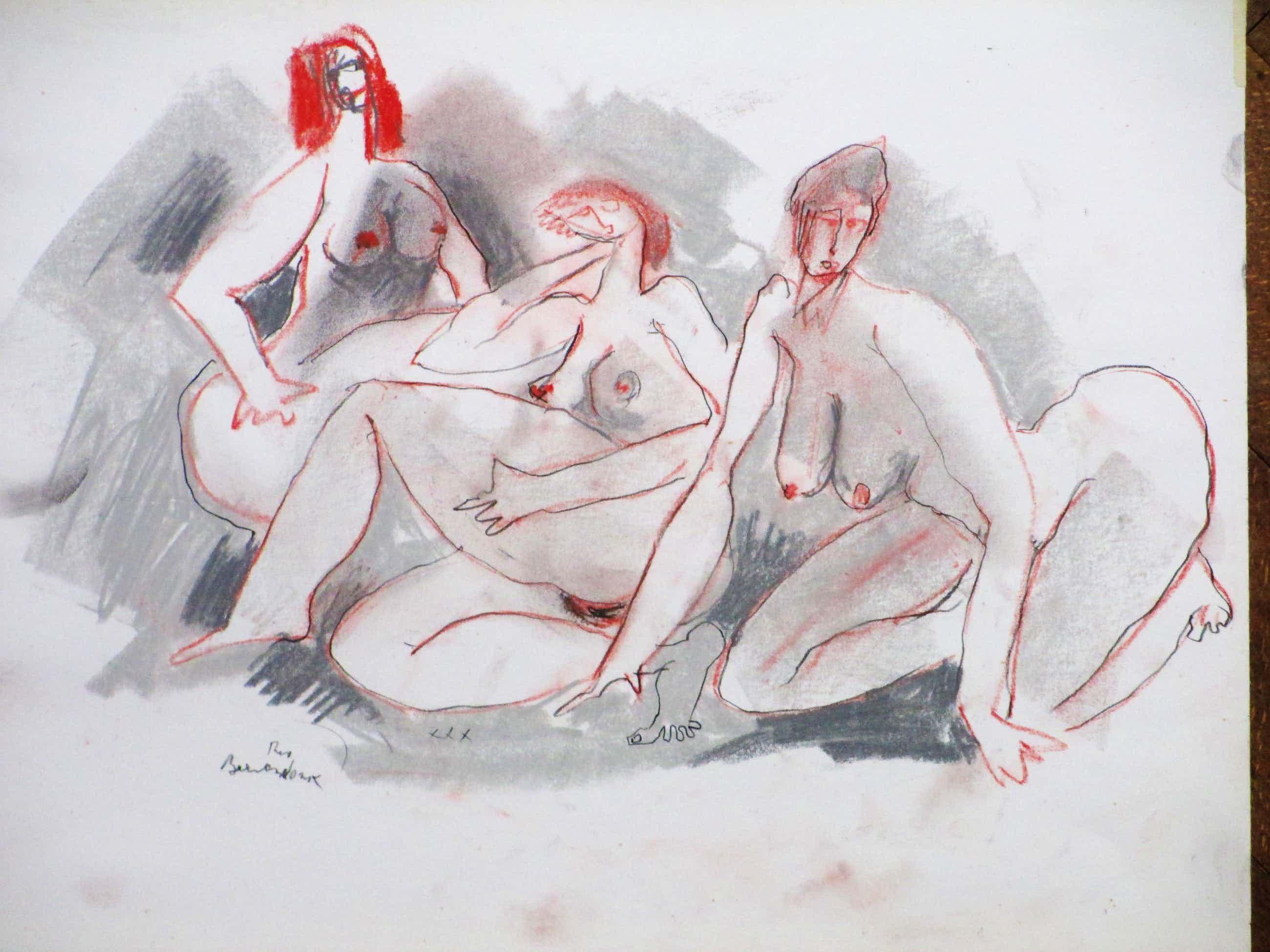 Theo Beerendonk - Drie pronte Naakten - Kleurtekening kopen? Bied vanaf 40!