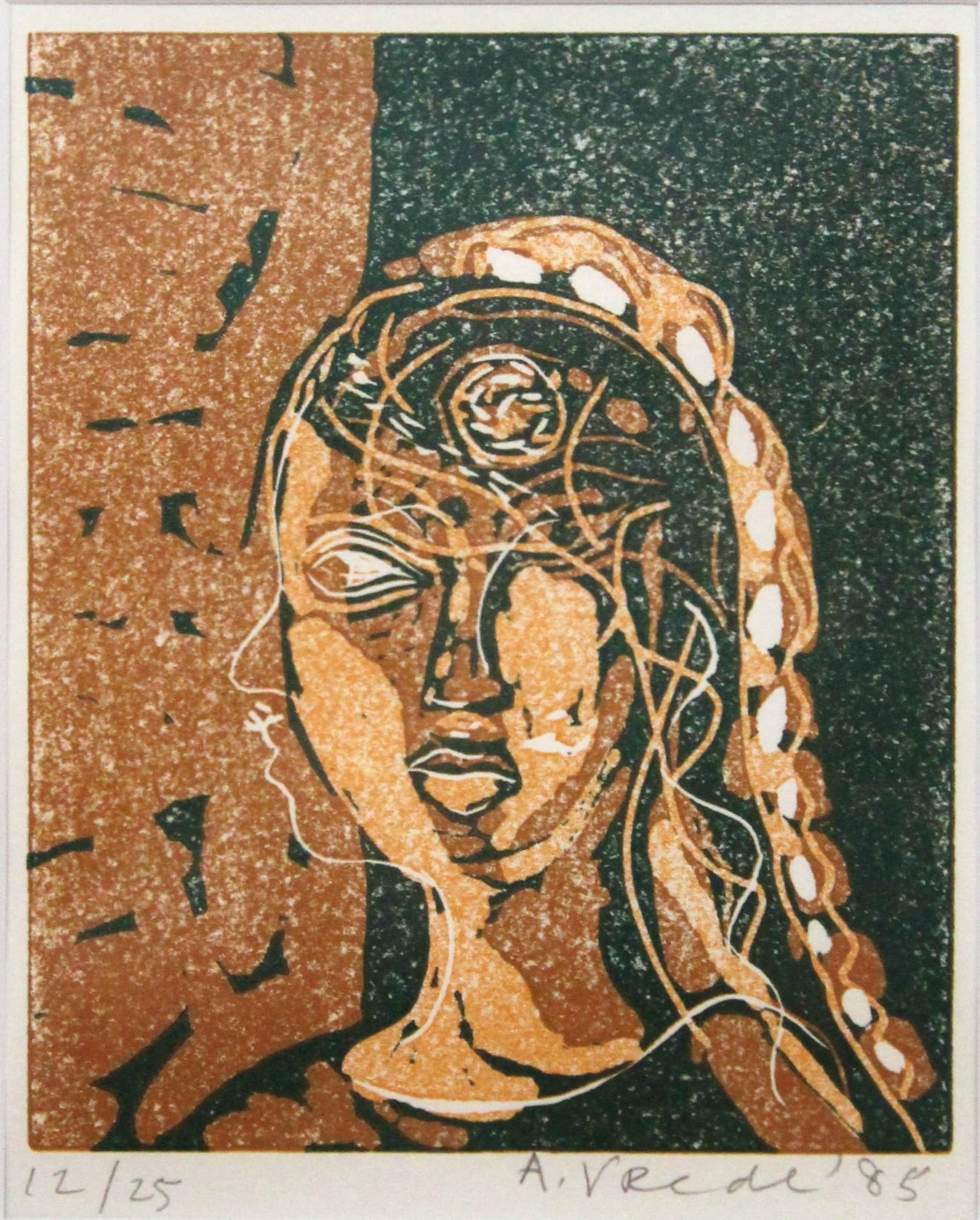 Anton Vrede - linosnede - vrouwenportret kopen? Bied vanaf 99!