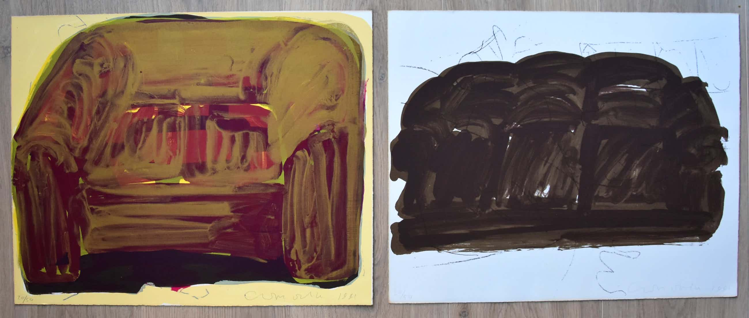 Cees Dolk - # set van 2 Litho's thema SOFA #1991, gesigneerd/genummerd kopen? Bied vanaf 75!