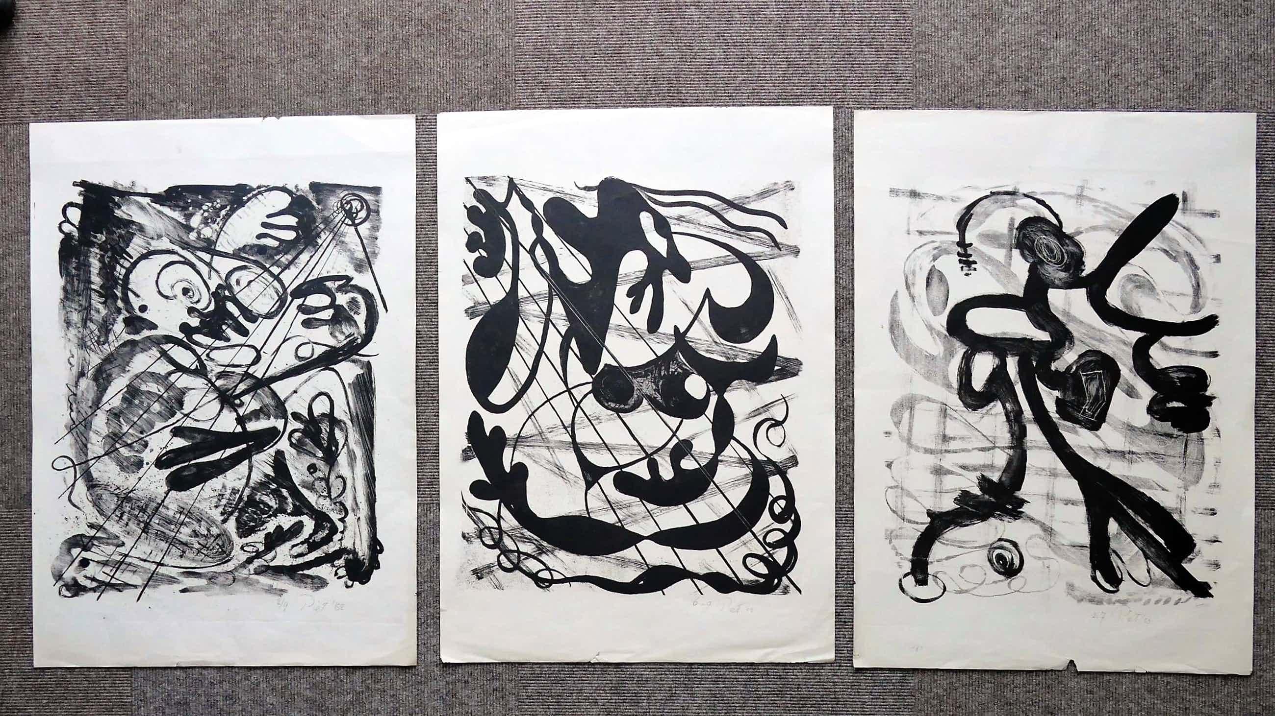 Piet van Stuivenberg - 3 Abstracte composities 1952 kopen? Bied vanaf 50!