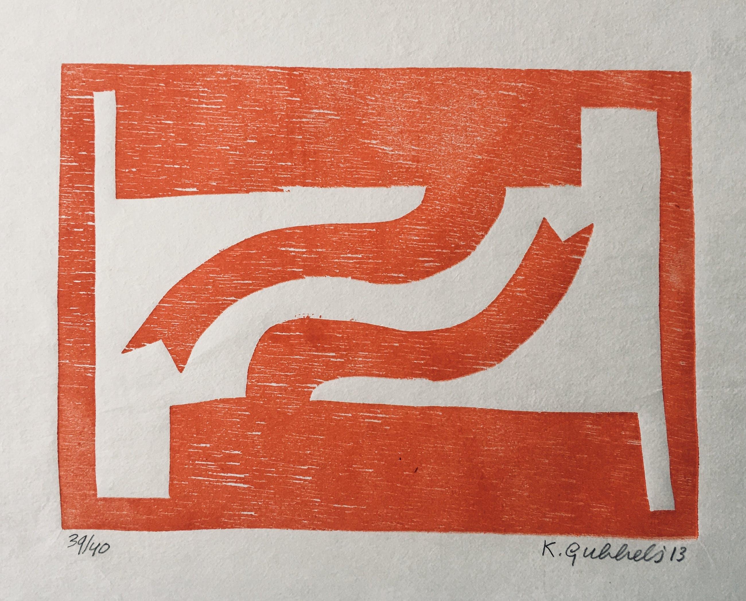 Klaas Gubbels - houtdruk 'Naar Elkaar' - 2013 - oplage 40 ex. kopen? Bied vanaf 295!