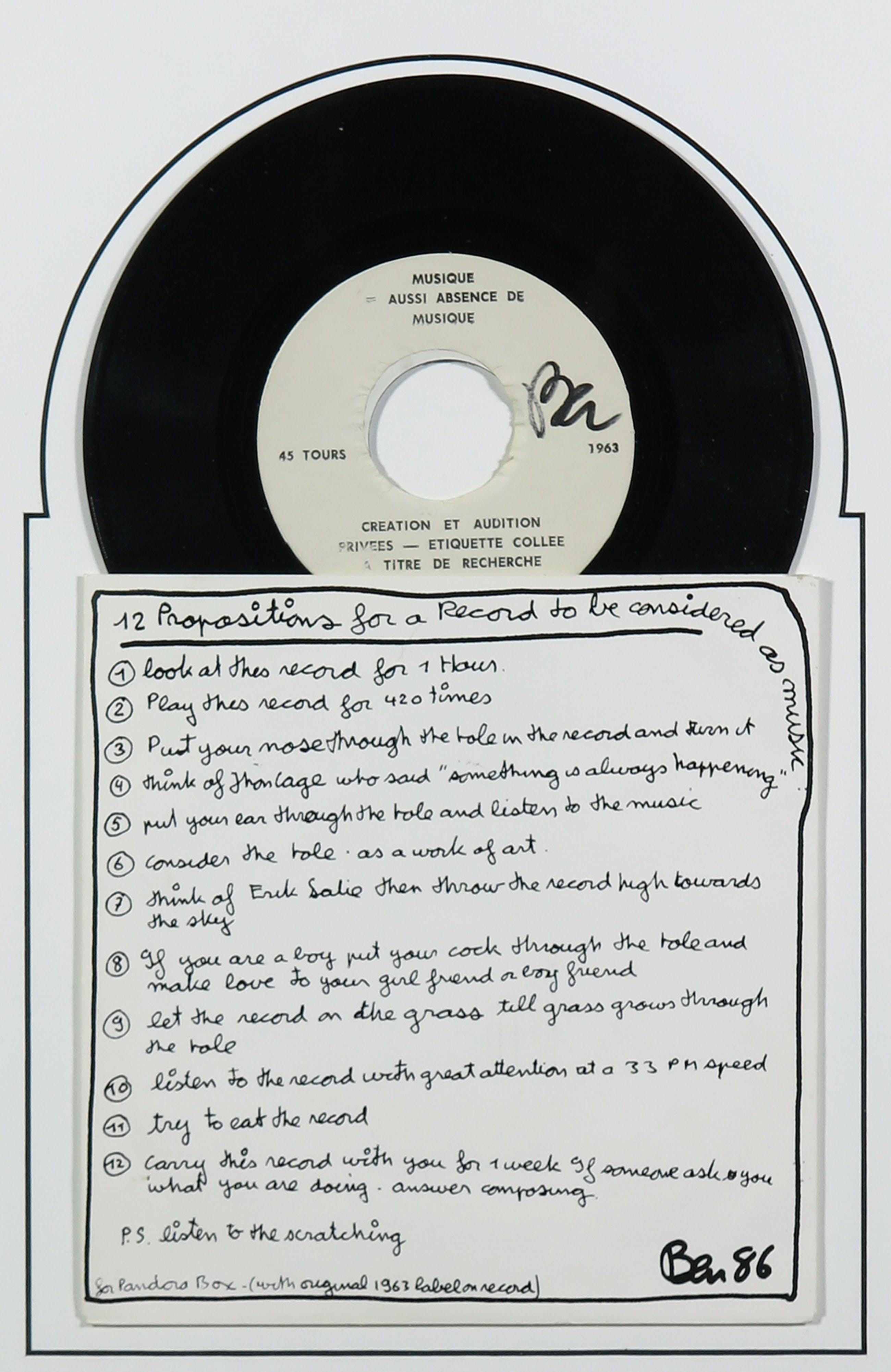 Benjamin Vautier - Handgesigneerde single - 12 Propositions for a Record to be considered as music kopen? Bied vanaf 1!