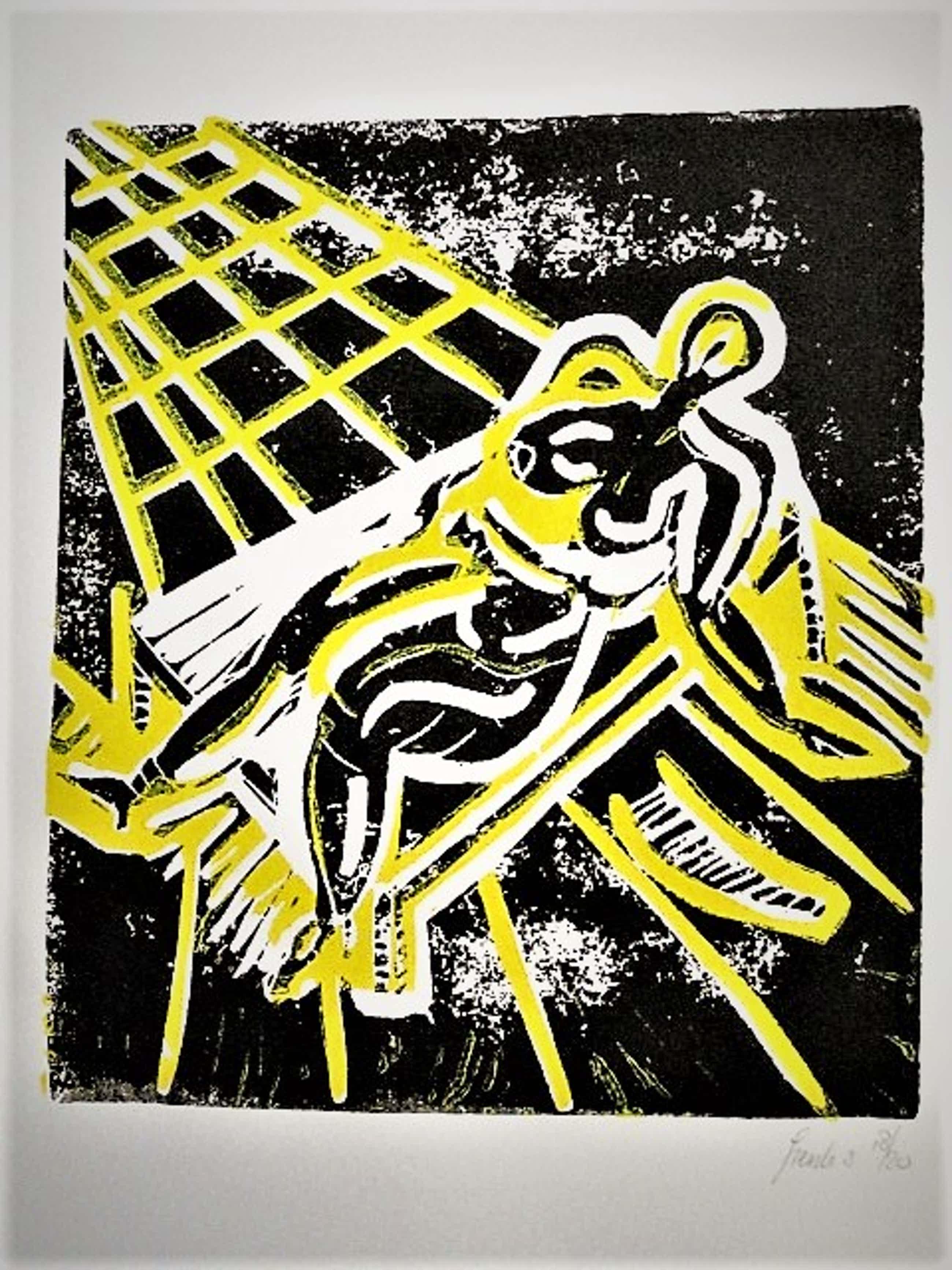 """Frenk van Heeswijk - Outsider Art - """"Voloptueuze zonaanbidster"""" - kleine oplage van 20 ex! kopen? Bied vanaf 20!"""