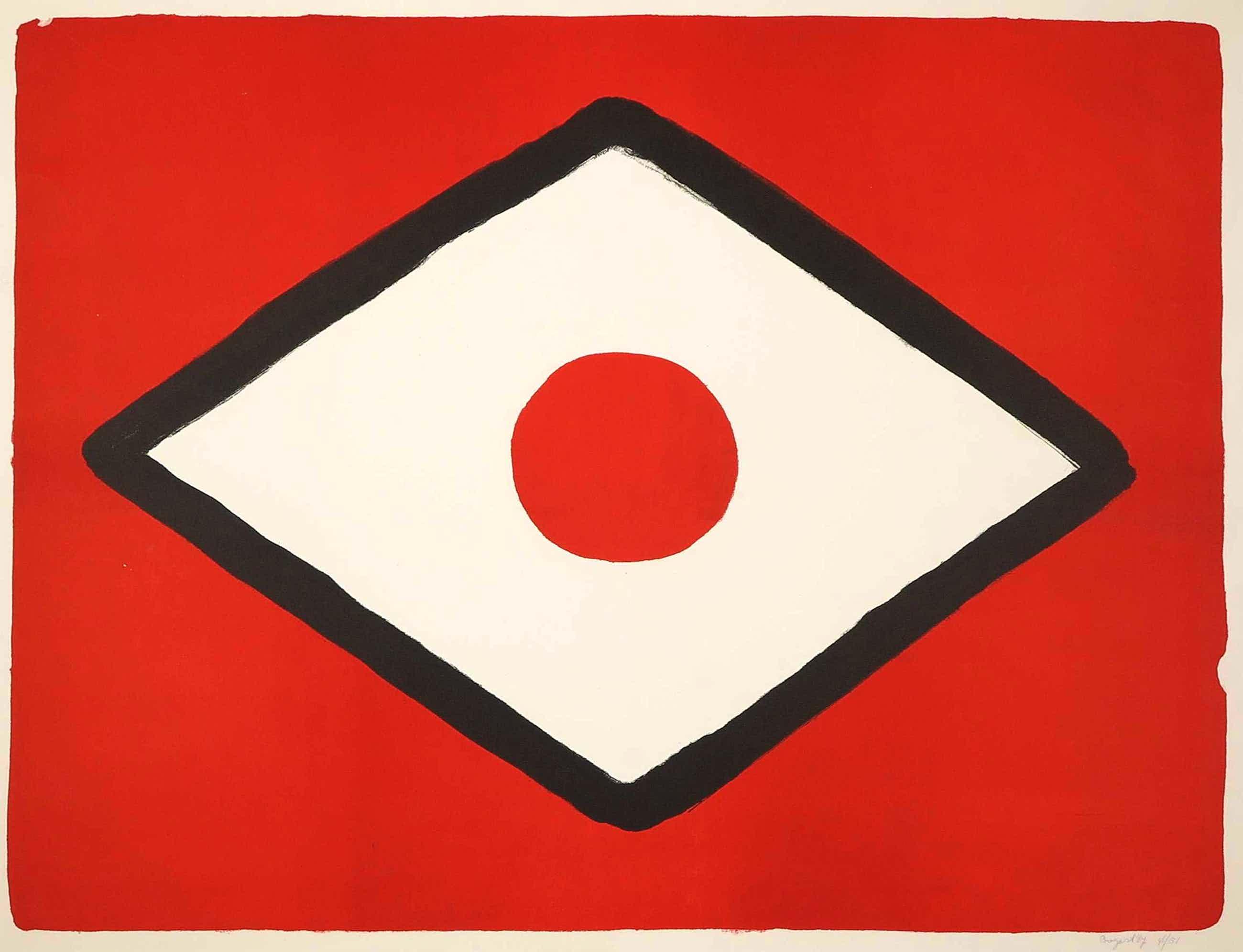 Bram Bogart - Zeefdruk, Z.T. Compositie in rood, zwart en wit kopen? Bied vanaf 320!