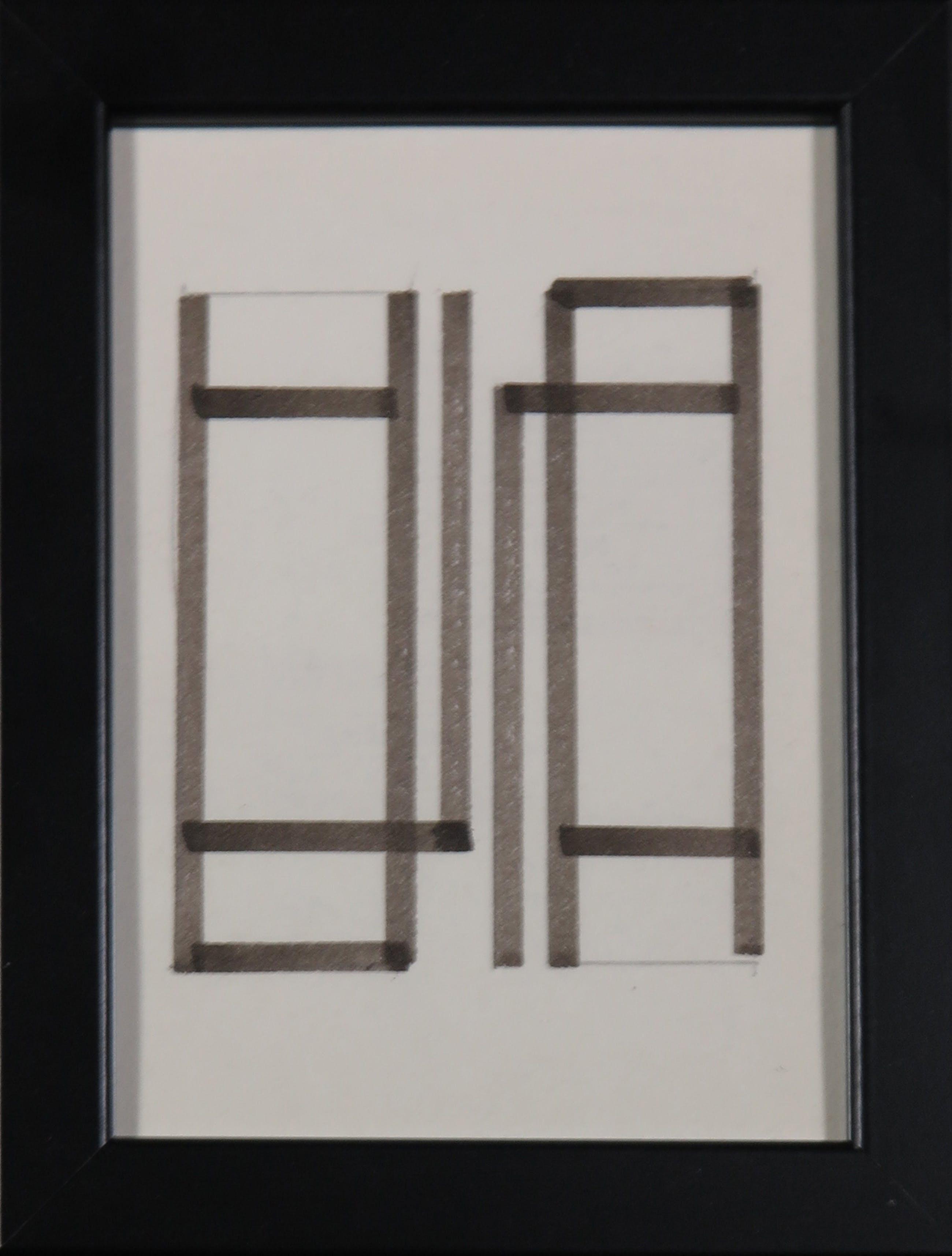 Siep van den Berg - Lot van twee pentekeningen, Geometrisch abstracte composities - Ingelijst kopen? Bied vanaf 35!