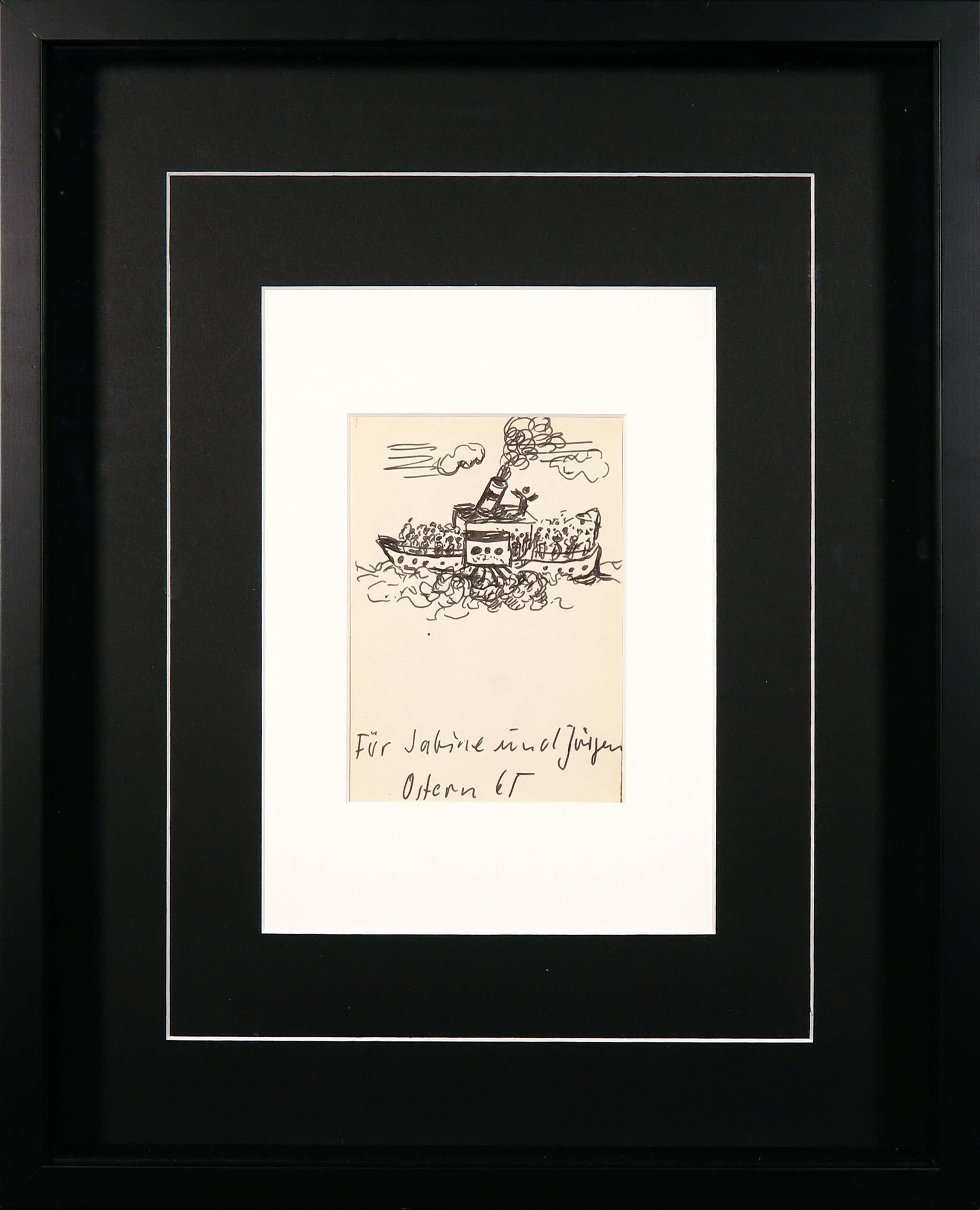 A.R. Penck - Tekening in viltstift, Für Sabine und Jürgen, Ostern '65 - Ingelijst kopen? Bied vanaf 160!