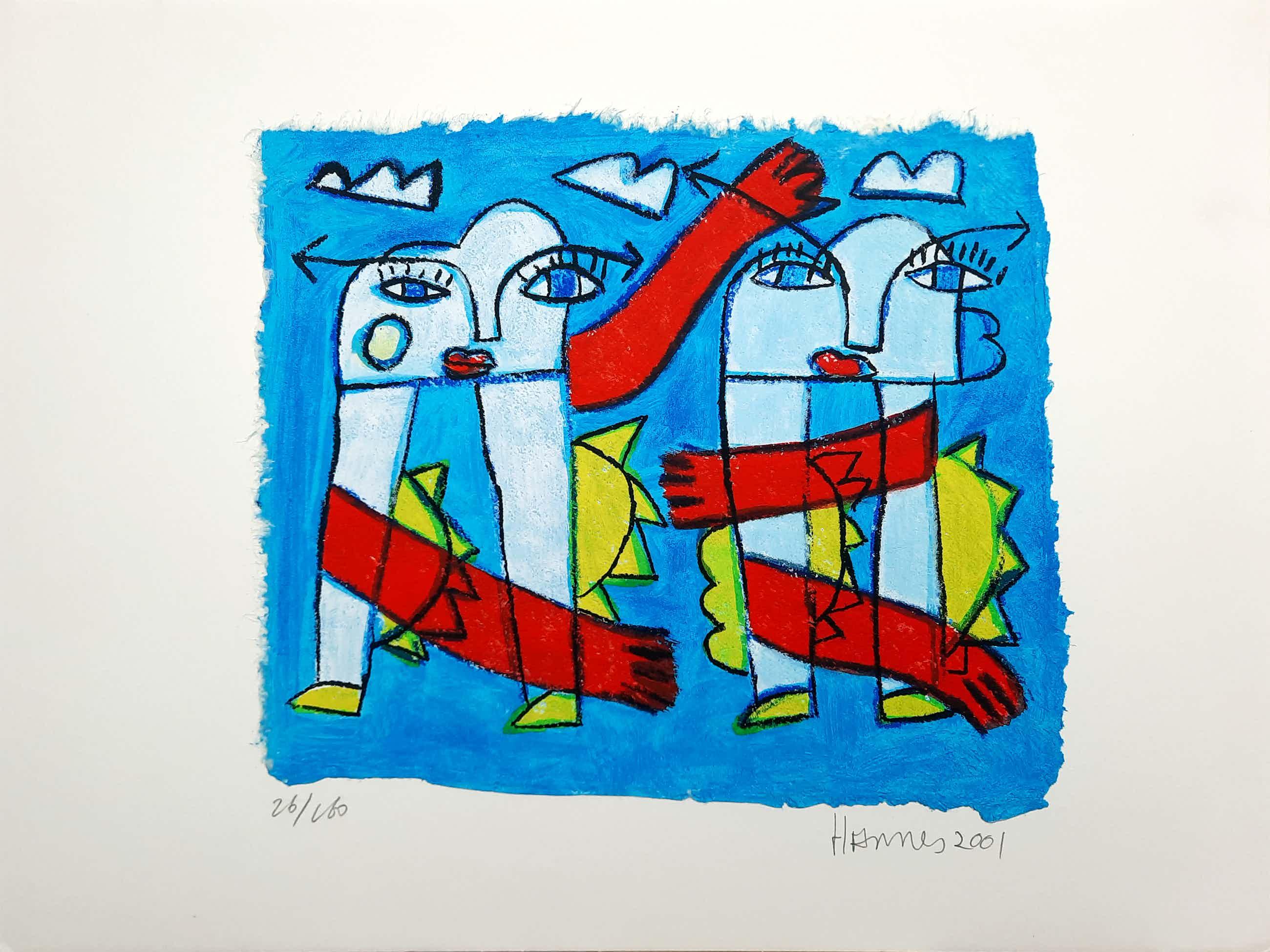 Hannes Kuiper - Zonder titel - vrolijke en kleurrijke zeefdruk 26/160 - 21966 kopen? Bied vanaf 45!