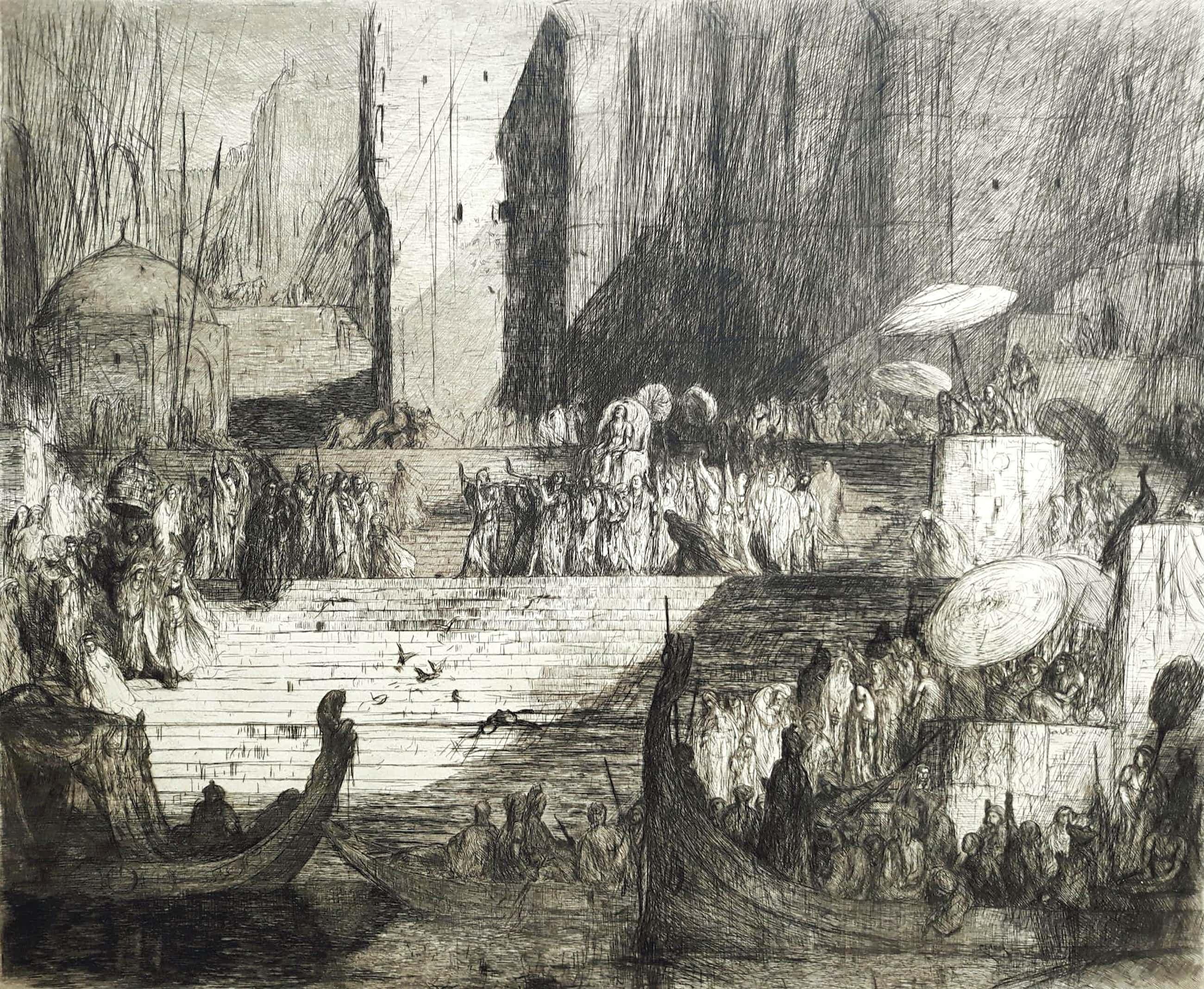 Marius Bauer - Een begrafenis aan de Ganges, ets (groot) kopen? Bied vanaf 525!