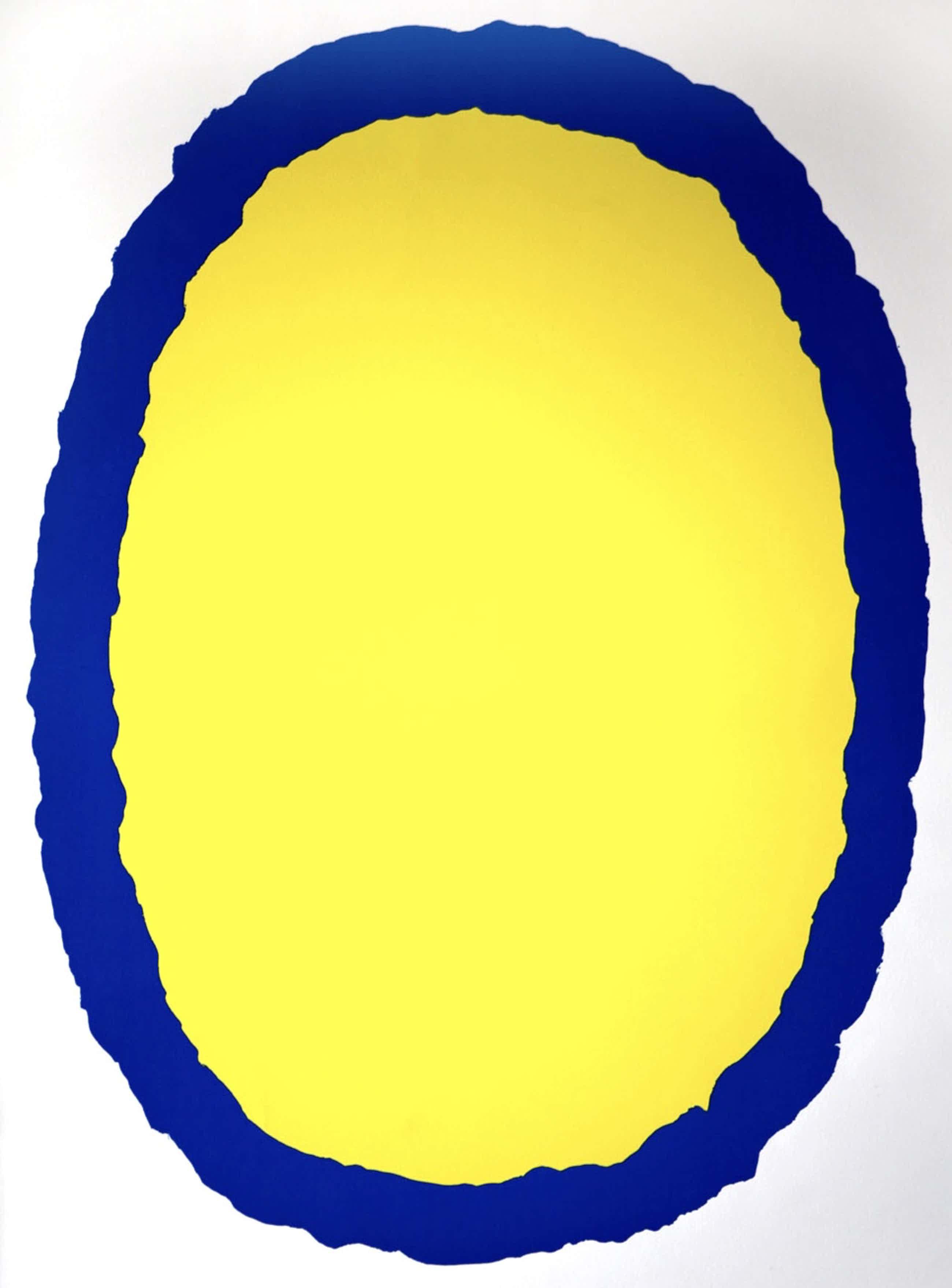 Bram Bogart - kleurenlitho - 'Geel/blauw' - 1978 (Prent 190) serie 11C ( LUXE INGELIJST) kopen? Bied vanaf 500!