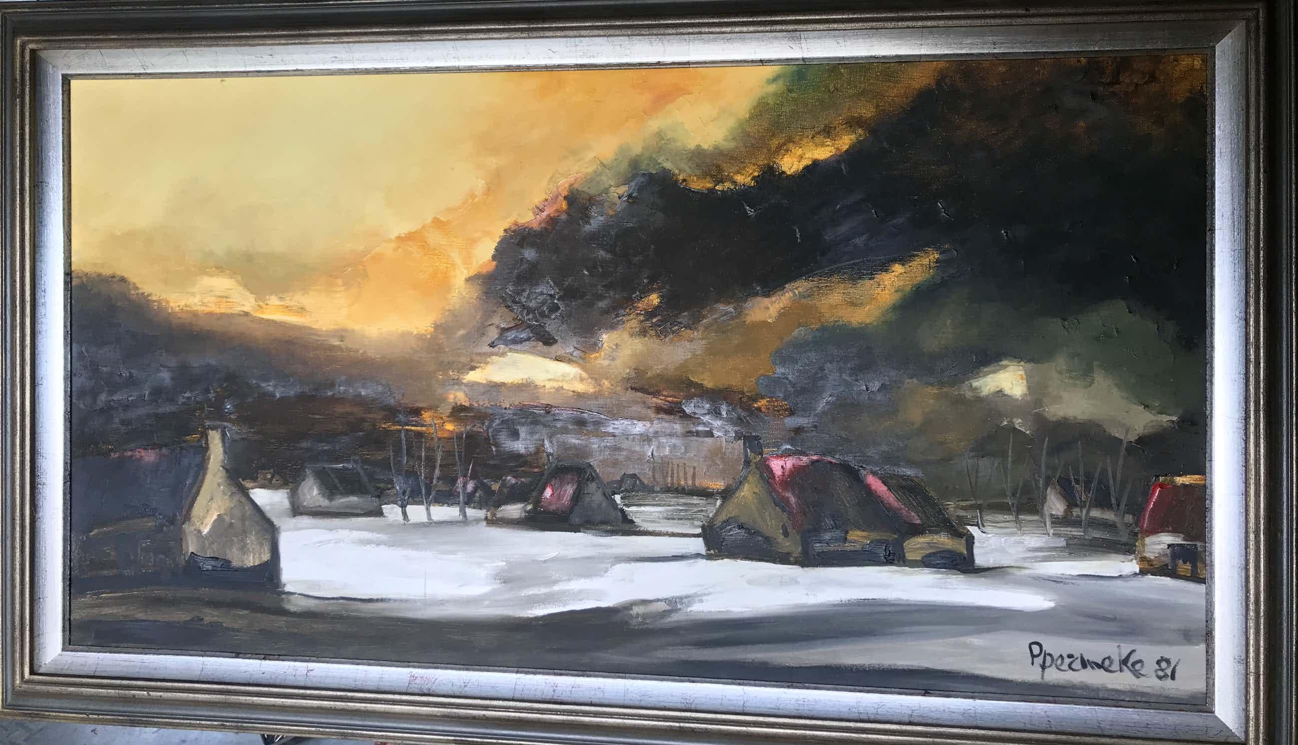 Paul Permeke - Olieverf schilderij: winterlandschap met ondergaande zon kopen? Bied vanaf 1049!