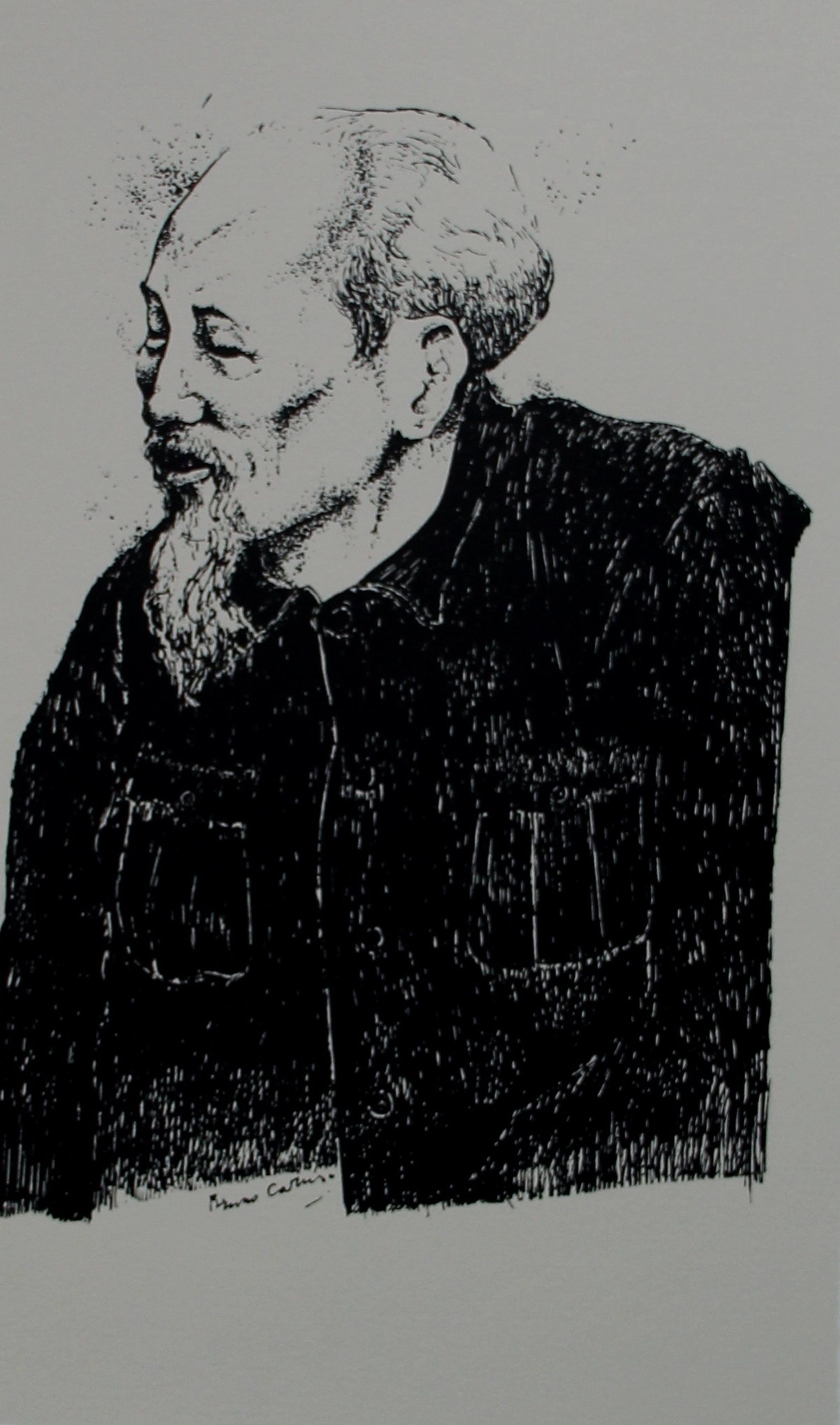Bruno Caruso - Zeefdruk: Portret van Ho Tsji Min kopen? Bied vanaf 55!